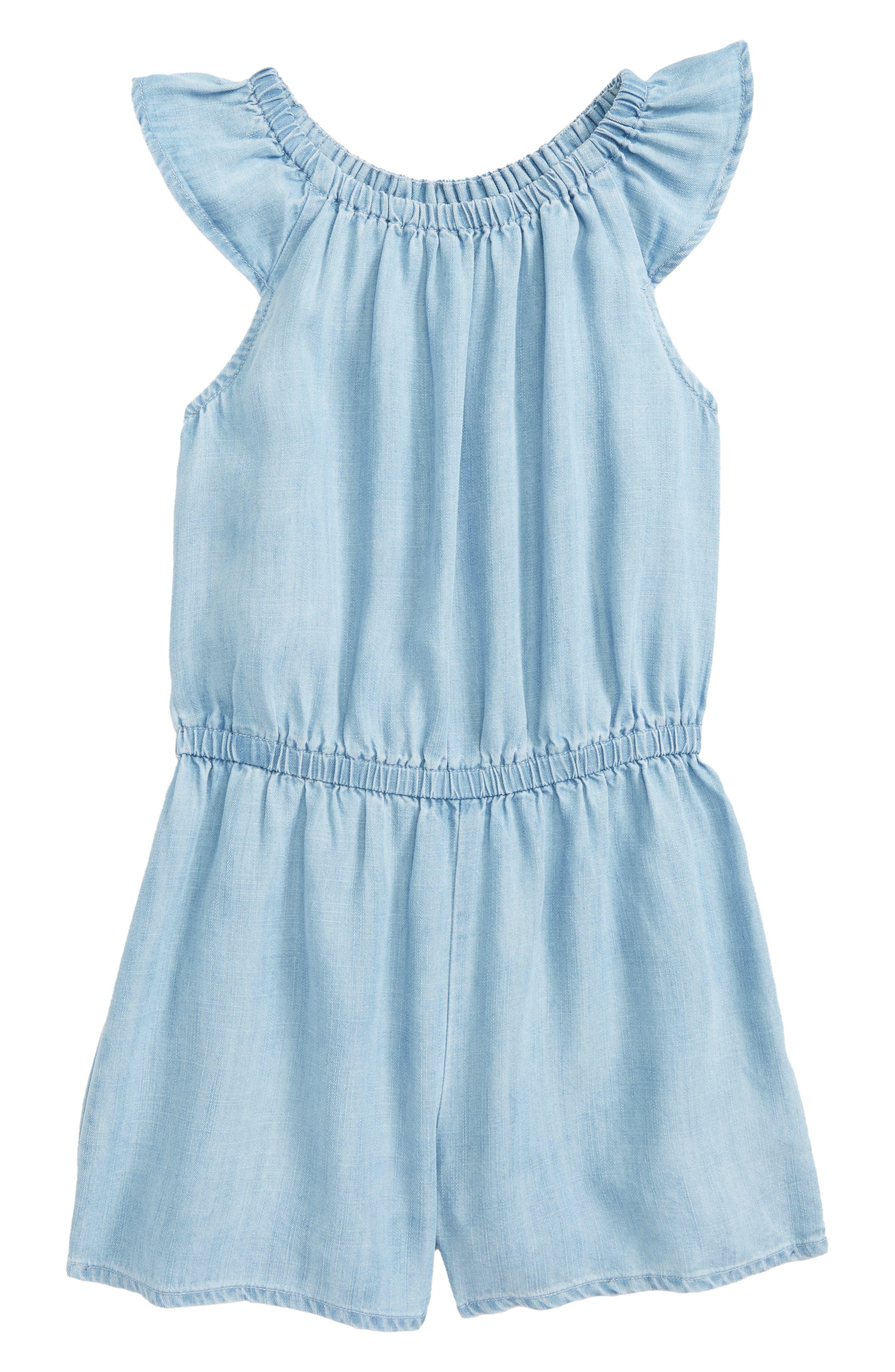 Flutter Sleeve Romper,                         Main,                         color, Blue Wash