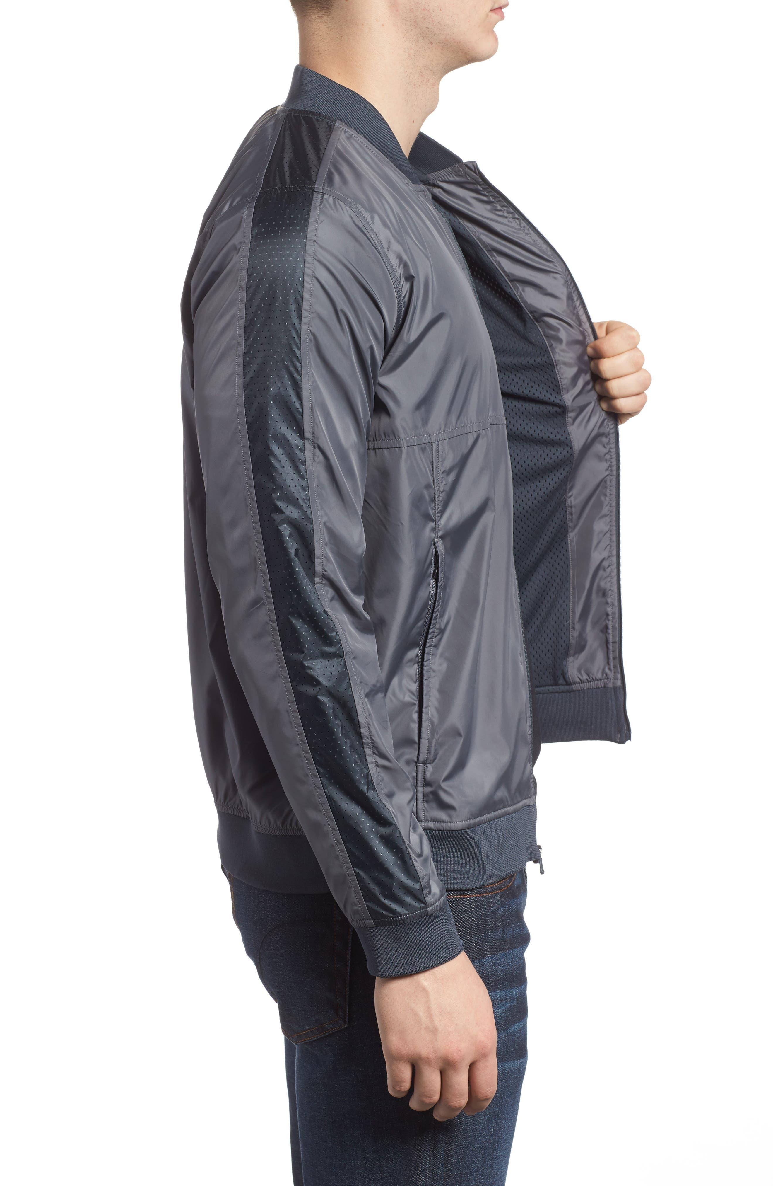 Sportstyle Wind Bomber Jacket,                             Alternate thumbnail 3, color,                             Graphite/ Black
