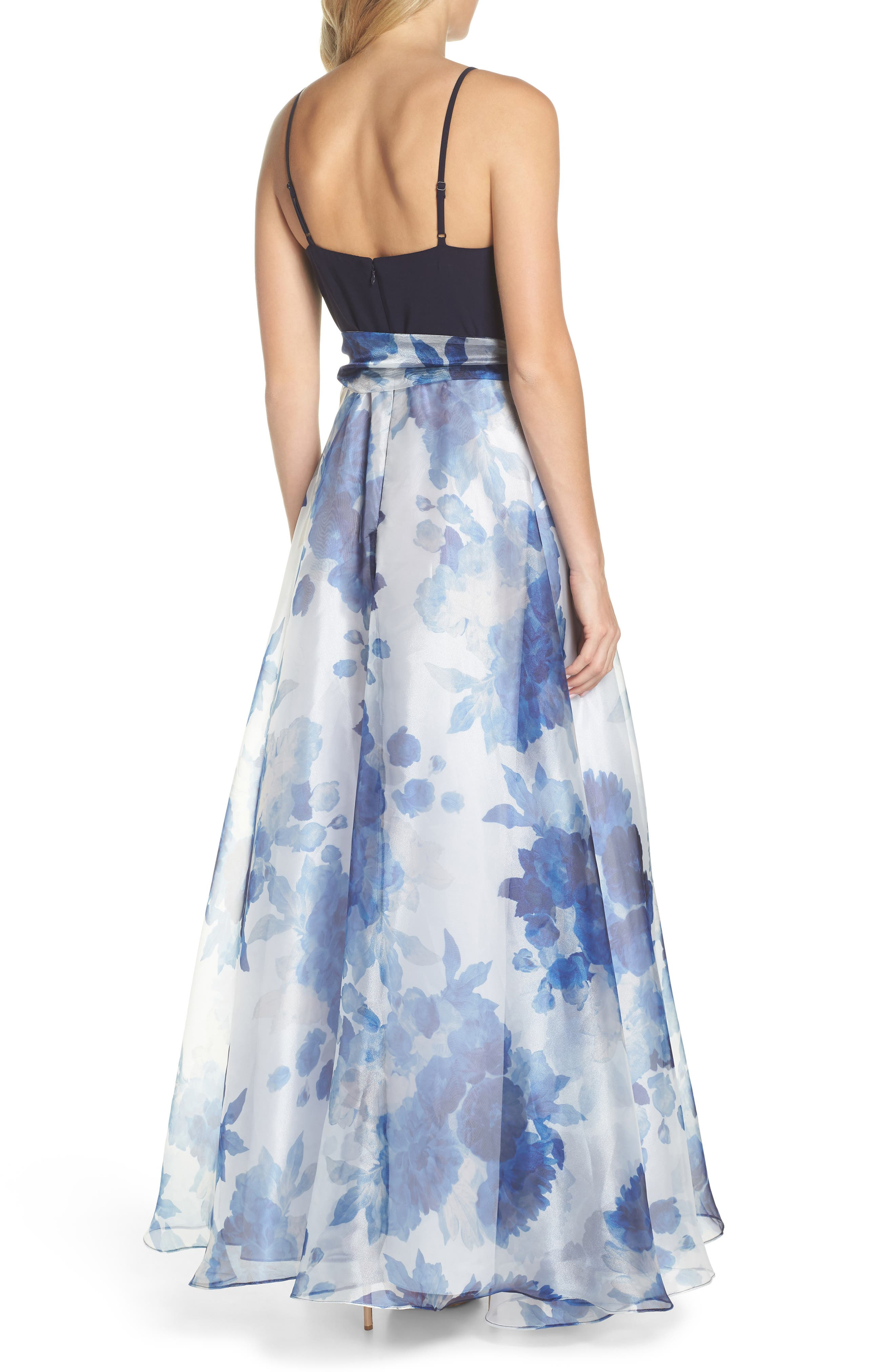 Floral Organza Gown,                             Alternate thumbnail 2, color,                             Navy Multi