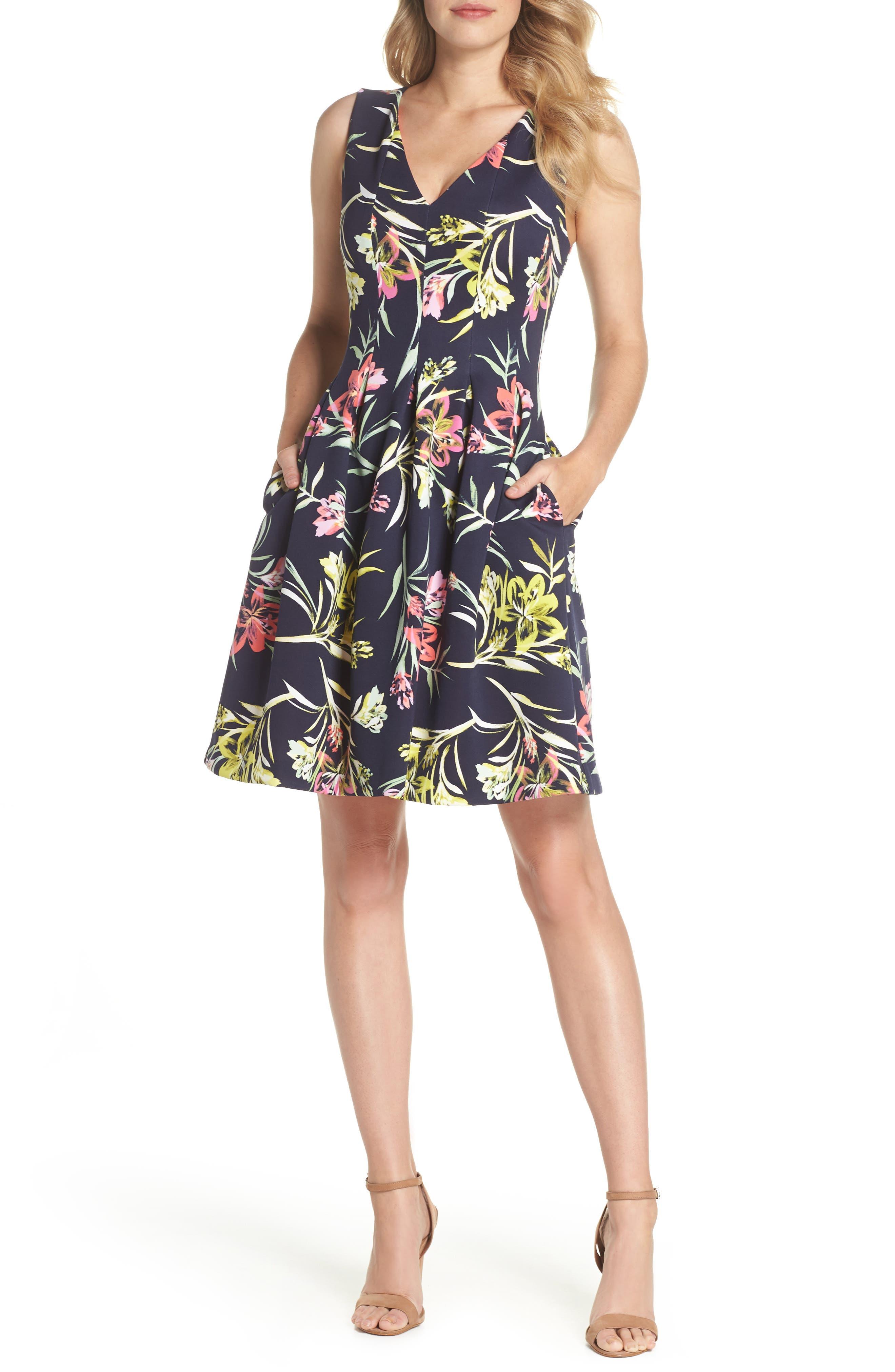Floral Print Scuba Crepe Fit & Flare Dress,                             Main thumbnail 1, color,                             Navy Multi