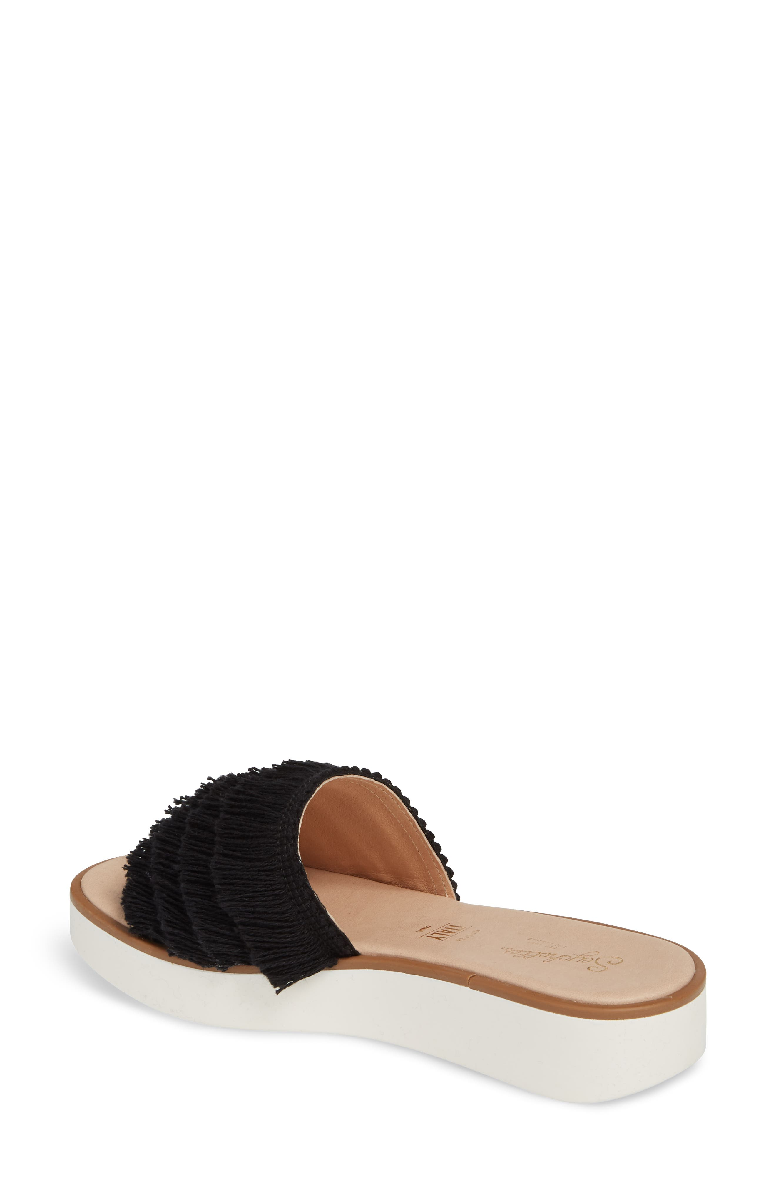 Well Rested Ruffle Slide Sandal,                             Alternate thumbnail 2, color,                             Black Fabric