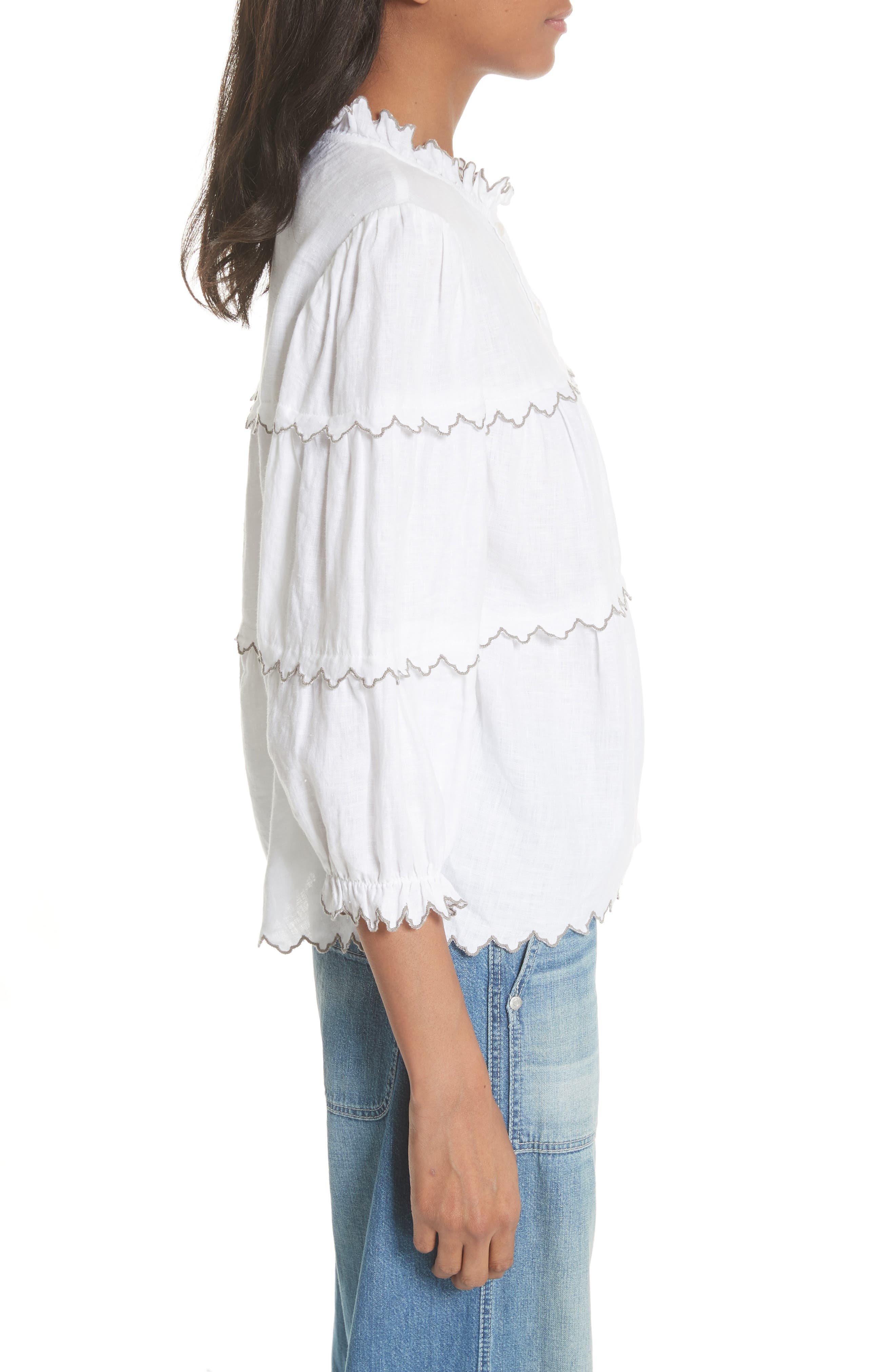 Embroidered Linen Top,                             Alternate thumbnail 3, color,                             Milk