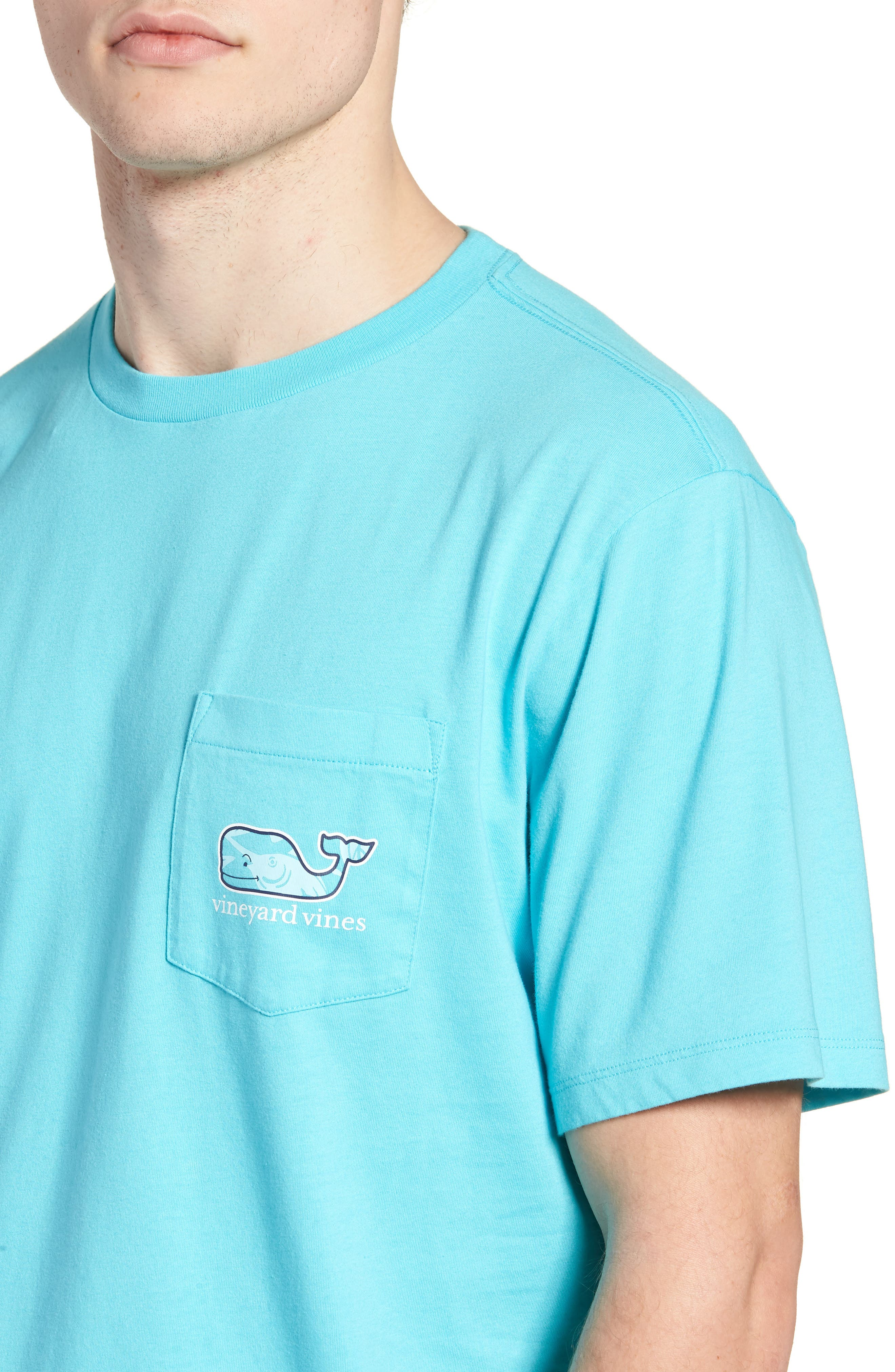Marlin out of Water Whale Fill Pocket T-Shirt,                             Alternate thumbnail 4, color,                             Turquoise