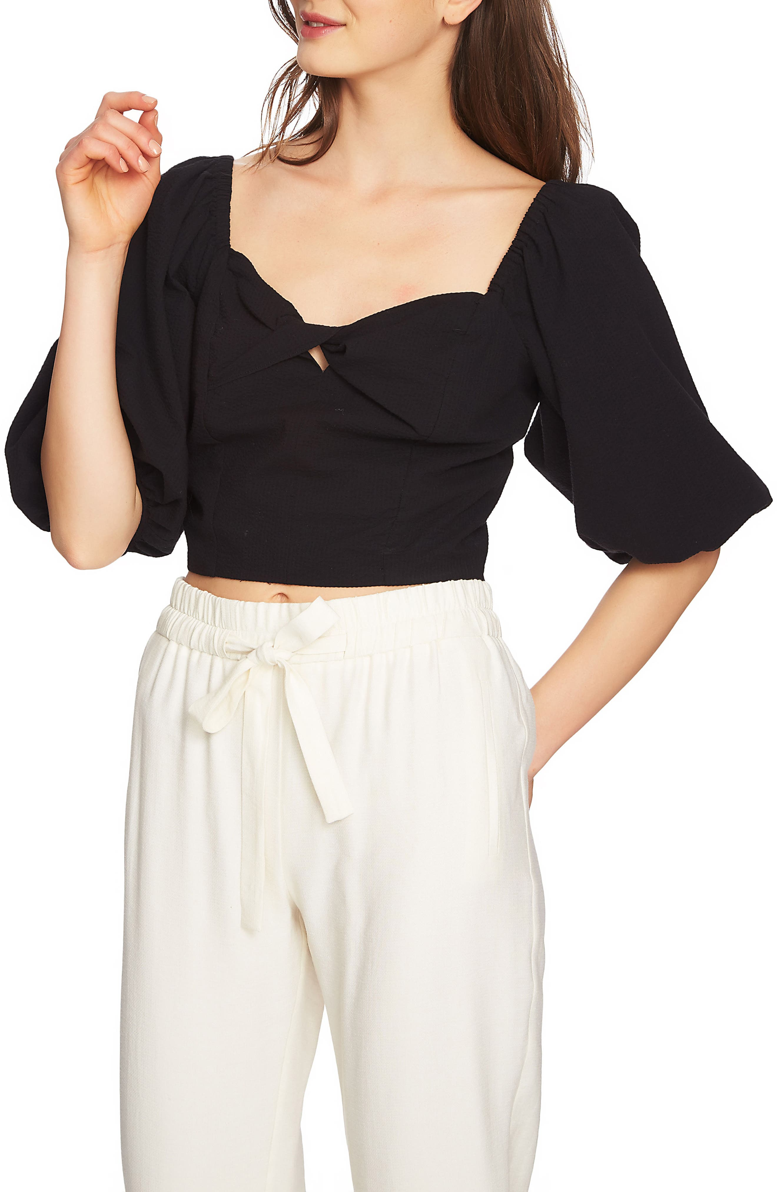 Puff Sleeve Crop Top,                         Main,                         color, Rich Black