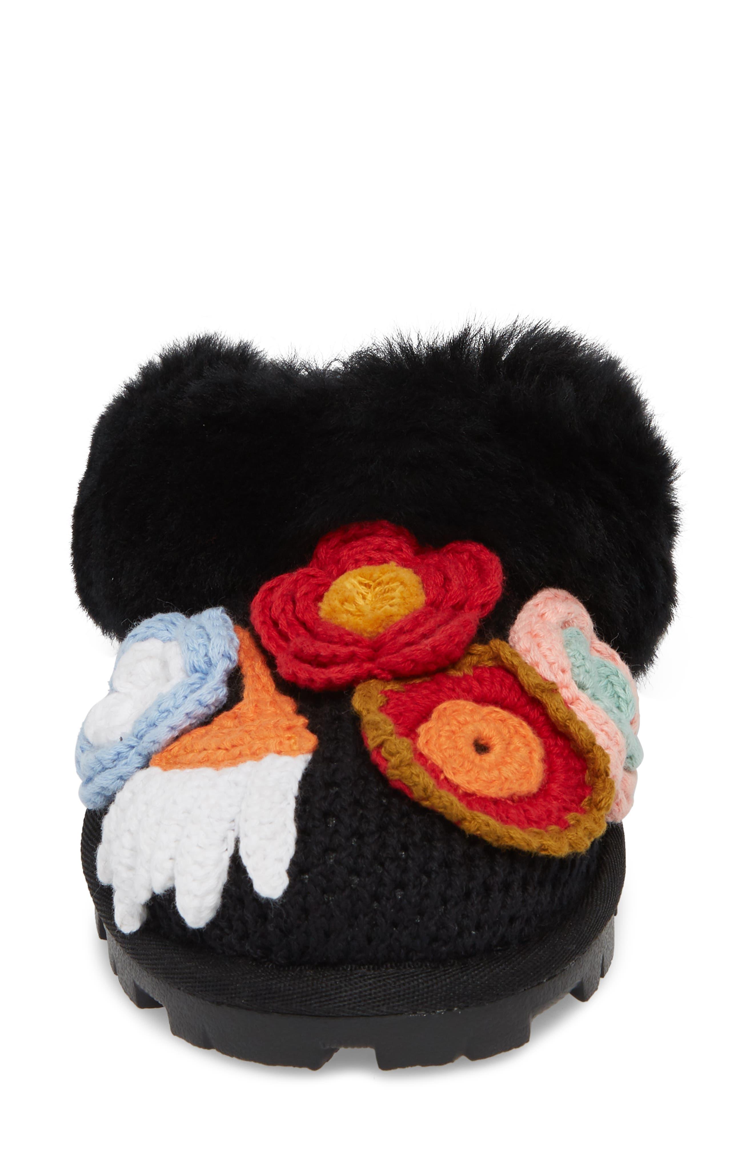 Crochet Genuine Shearling Slipper,                             Alternate thumbnail 4, color,                             Black