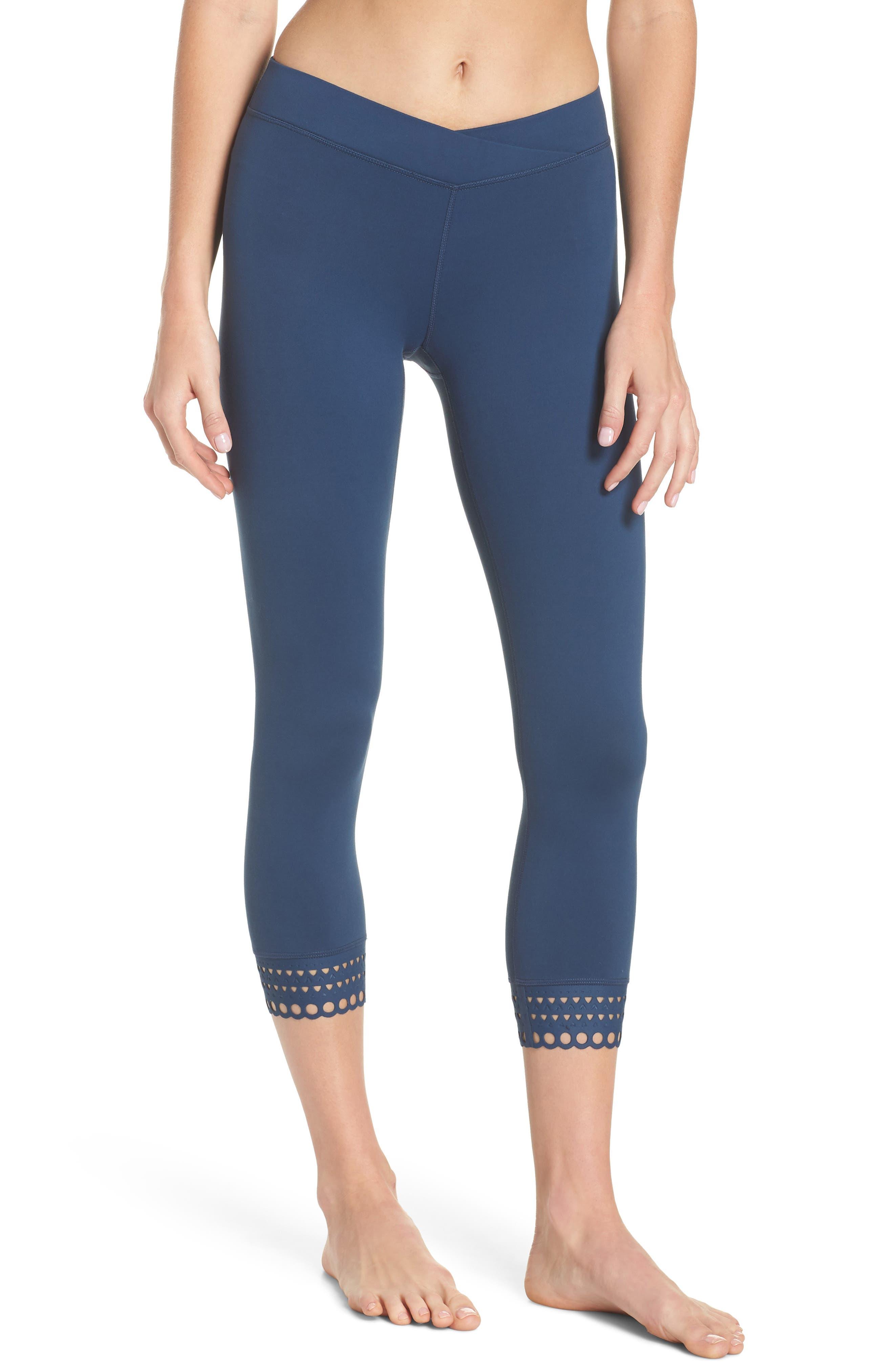 Cross the Line Crop Leggings,                         Main,                         color, Blue Insignia
