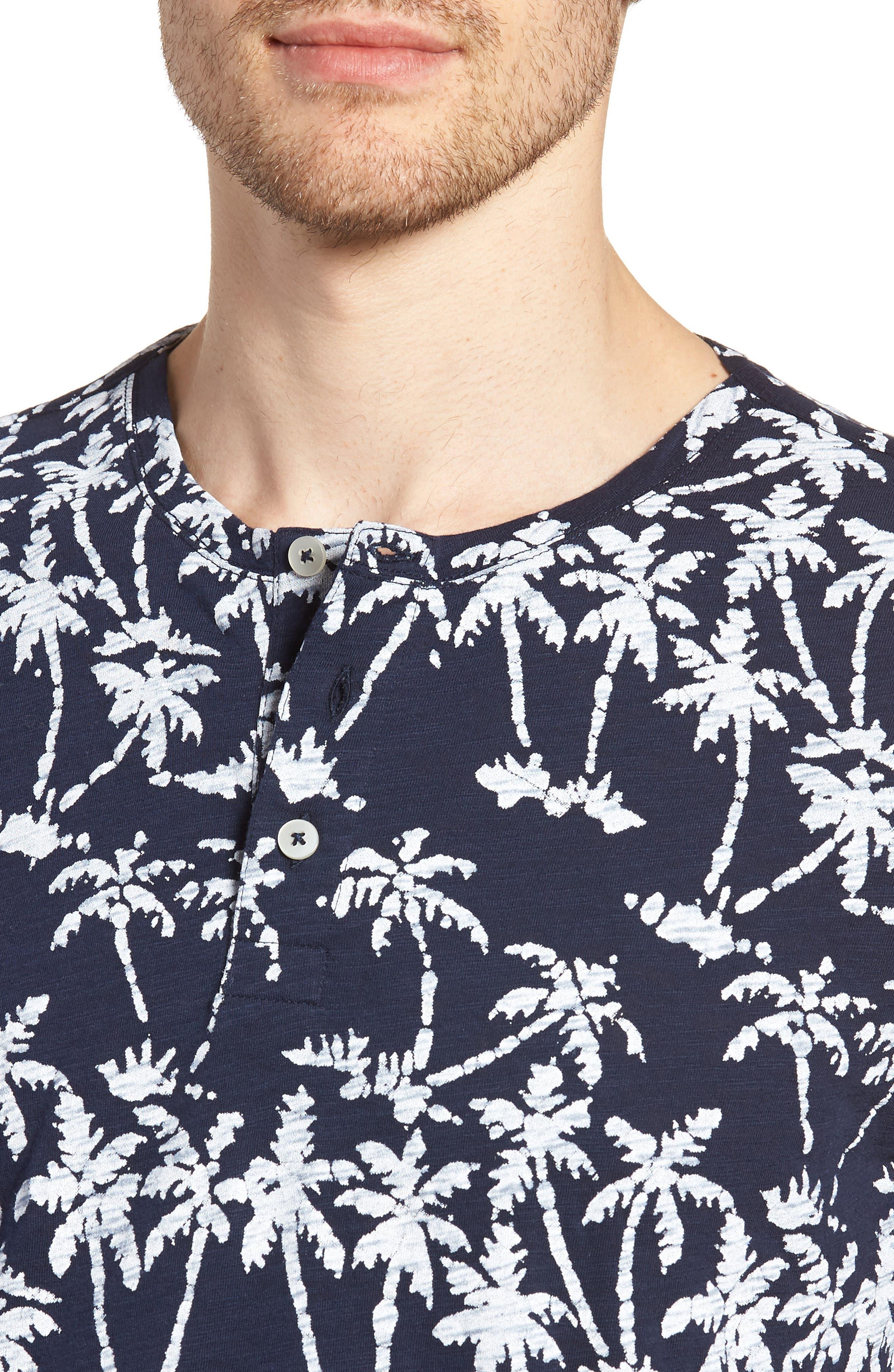 Print Henley T-Shirt,                             Alternate thumbnail 4, color,                             Batik Palms