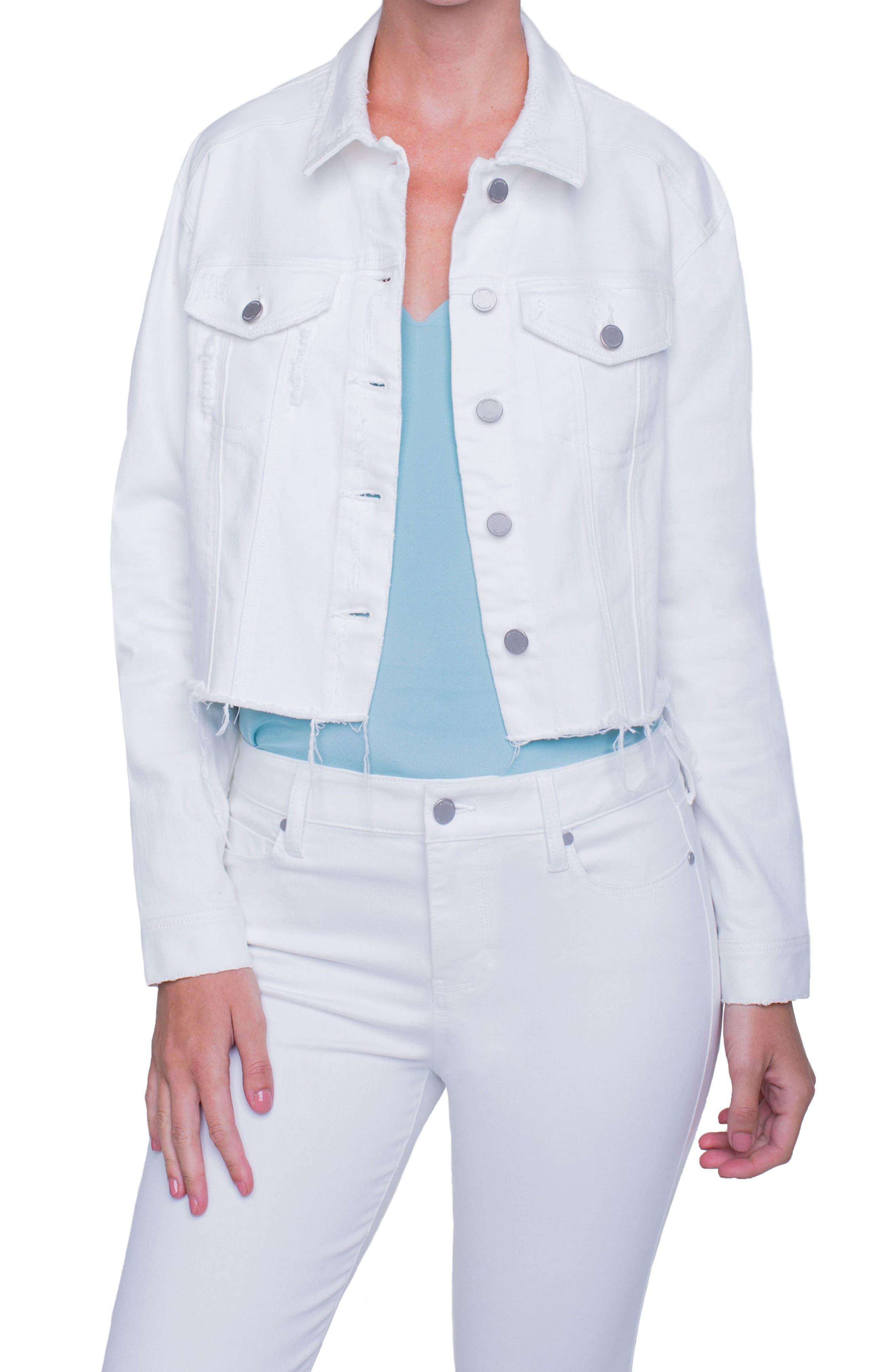 Alternate Image 1 Selected - Liverpool Jeans Company Raw Edge Denim Jacket (Magnolia Destruct)