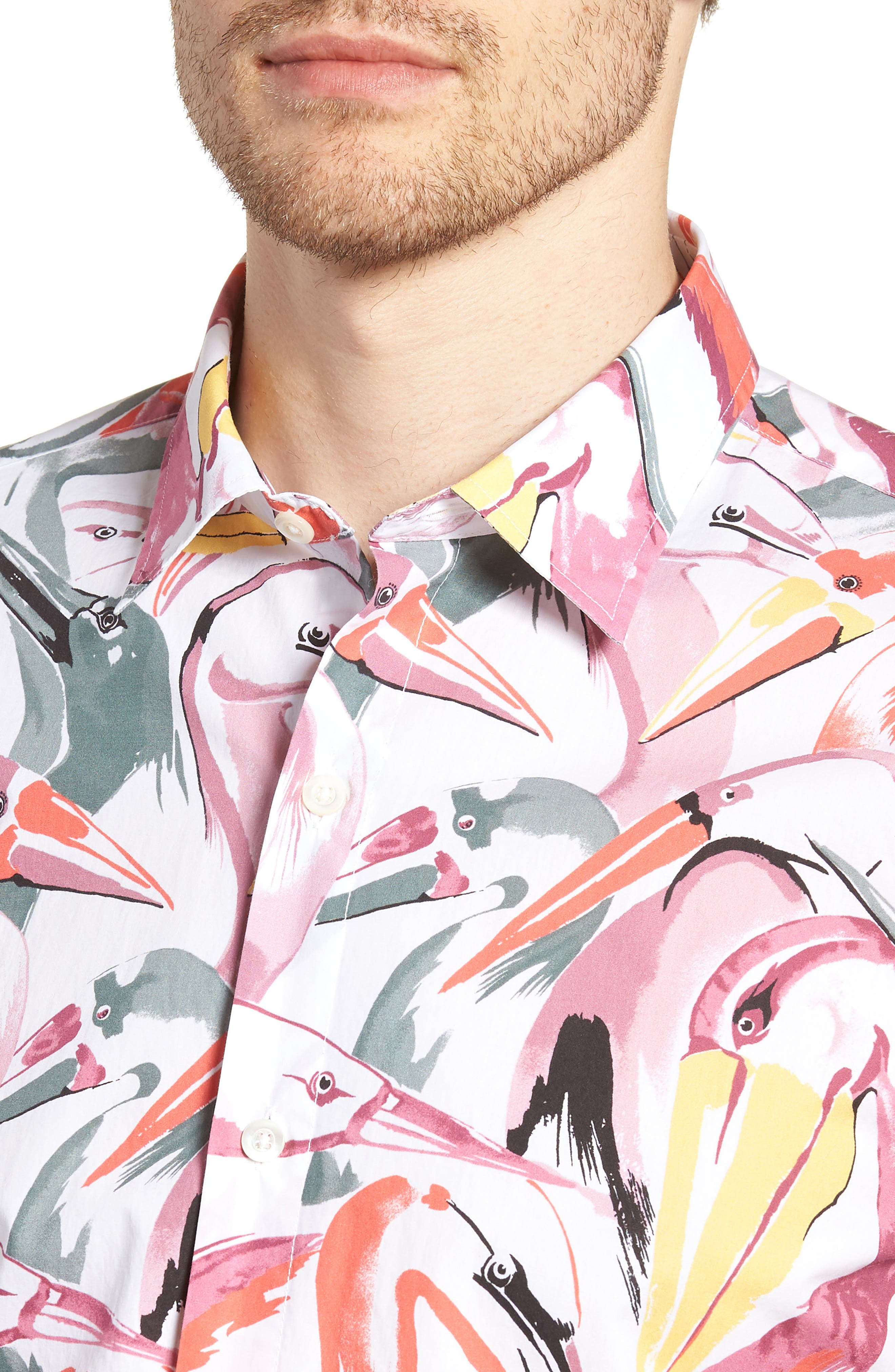 Premium Slim Fit Print Short Sleeve Sport Shirt,                             Alternate thumbnail 4, color,                             Bird Print