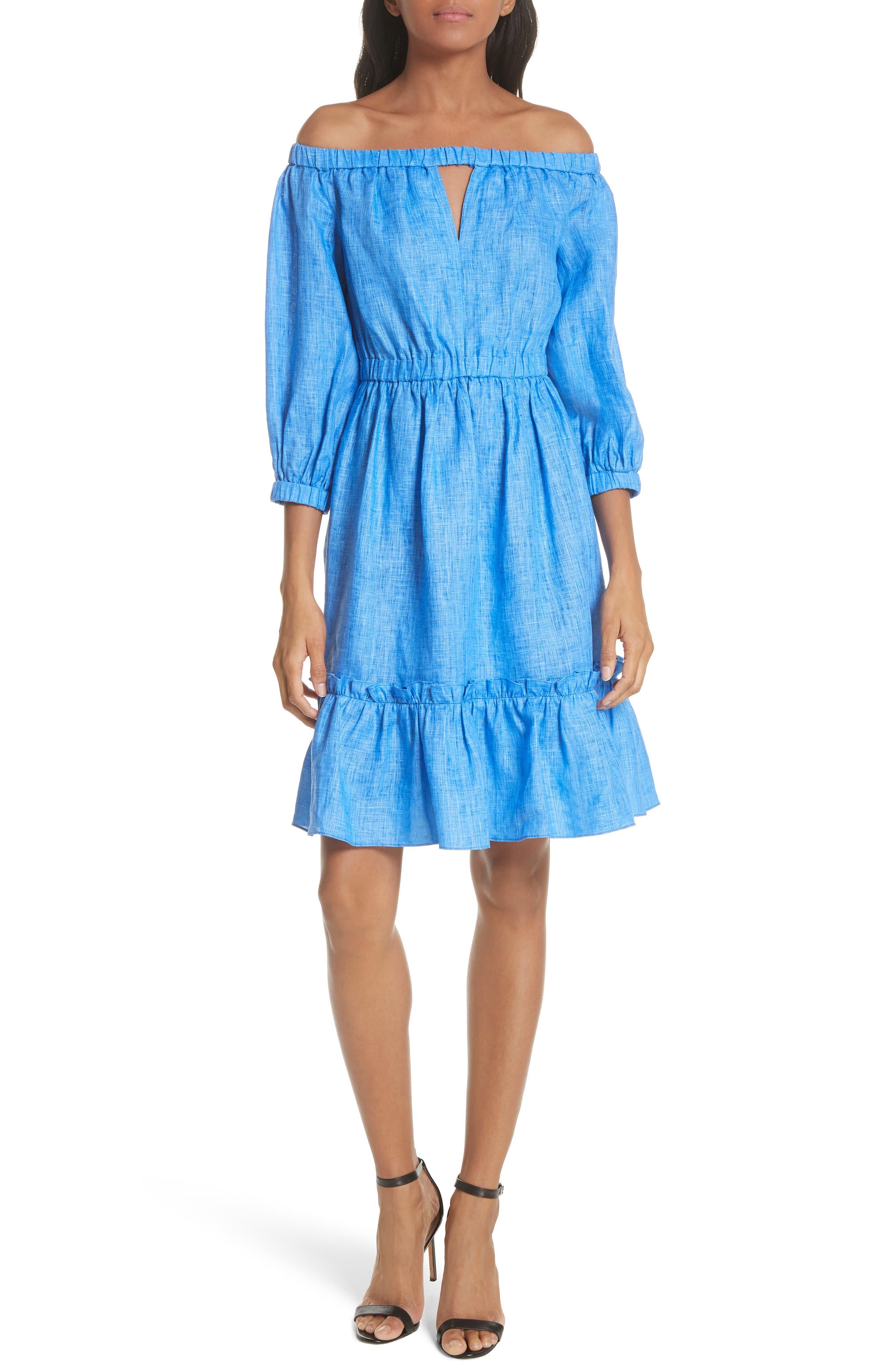 Amanda Off the Shoulder Italian Linen Dress,                             Main thumbnail 1, color,                             Cobalt
