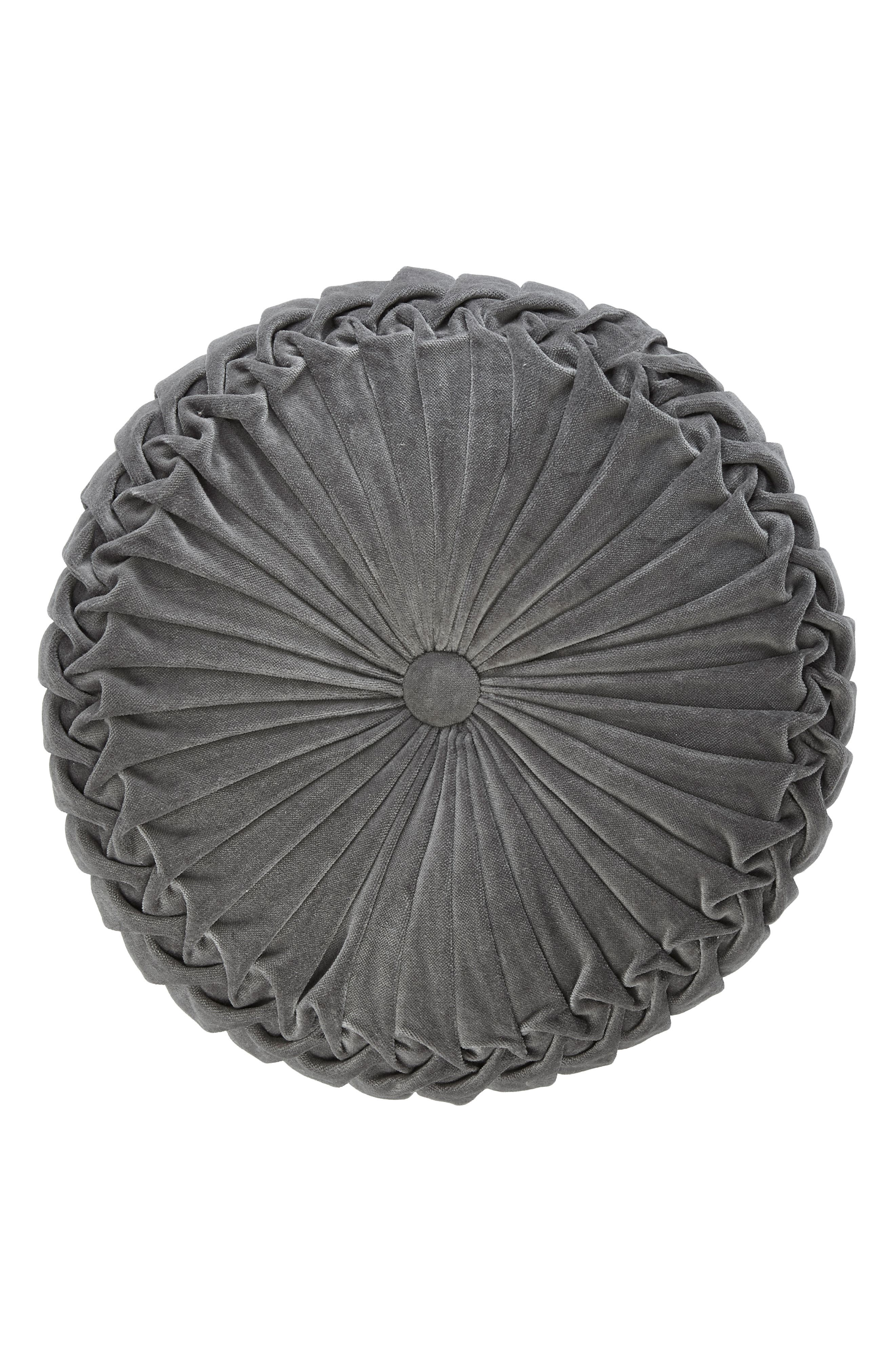 Round Velvet Accent Pillow,                             Main thumbnail 1, color,                             Medium Grey