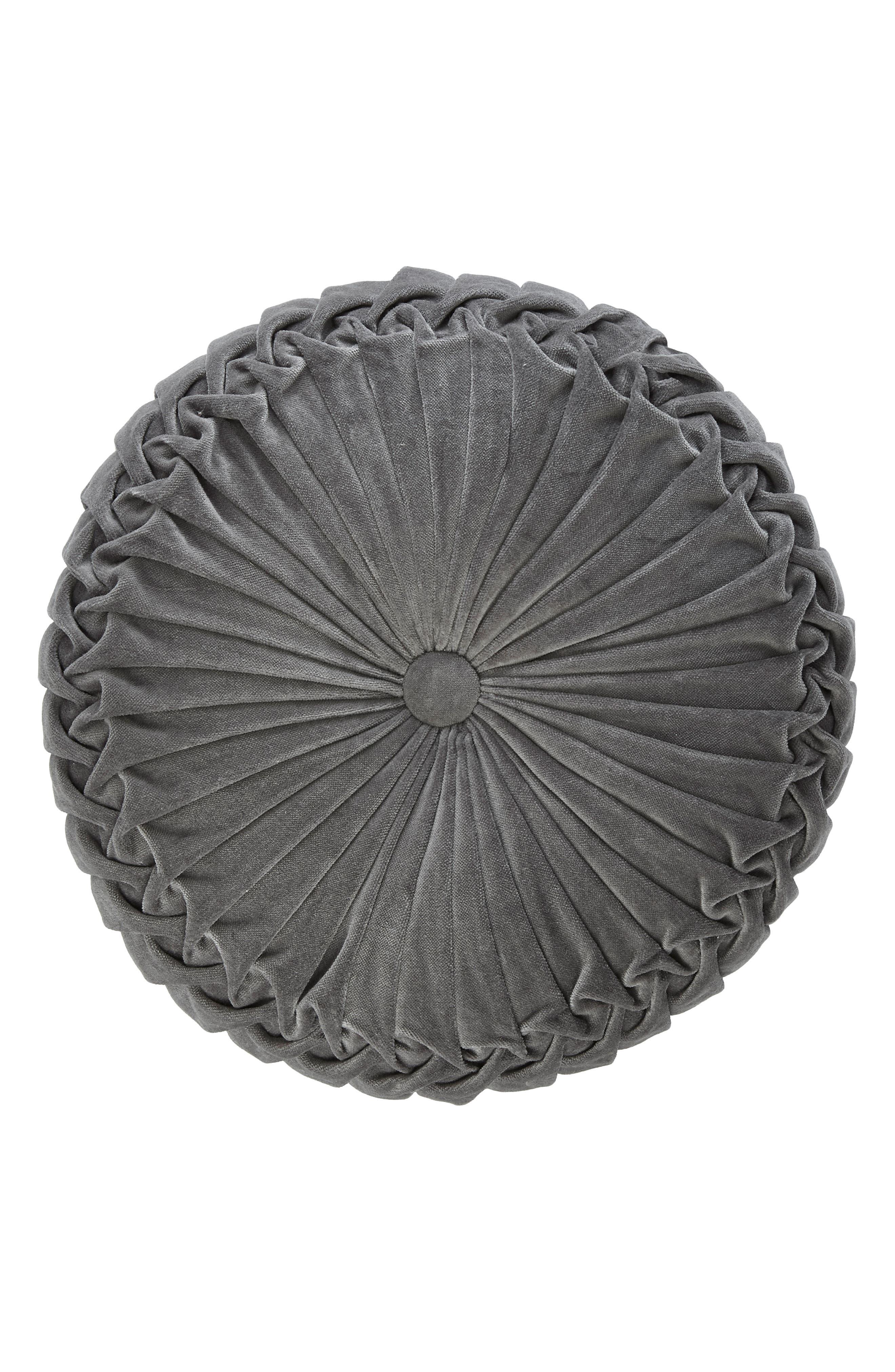 Round Velvet Accent Pillow,                         Main,                         color, Medium Grey