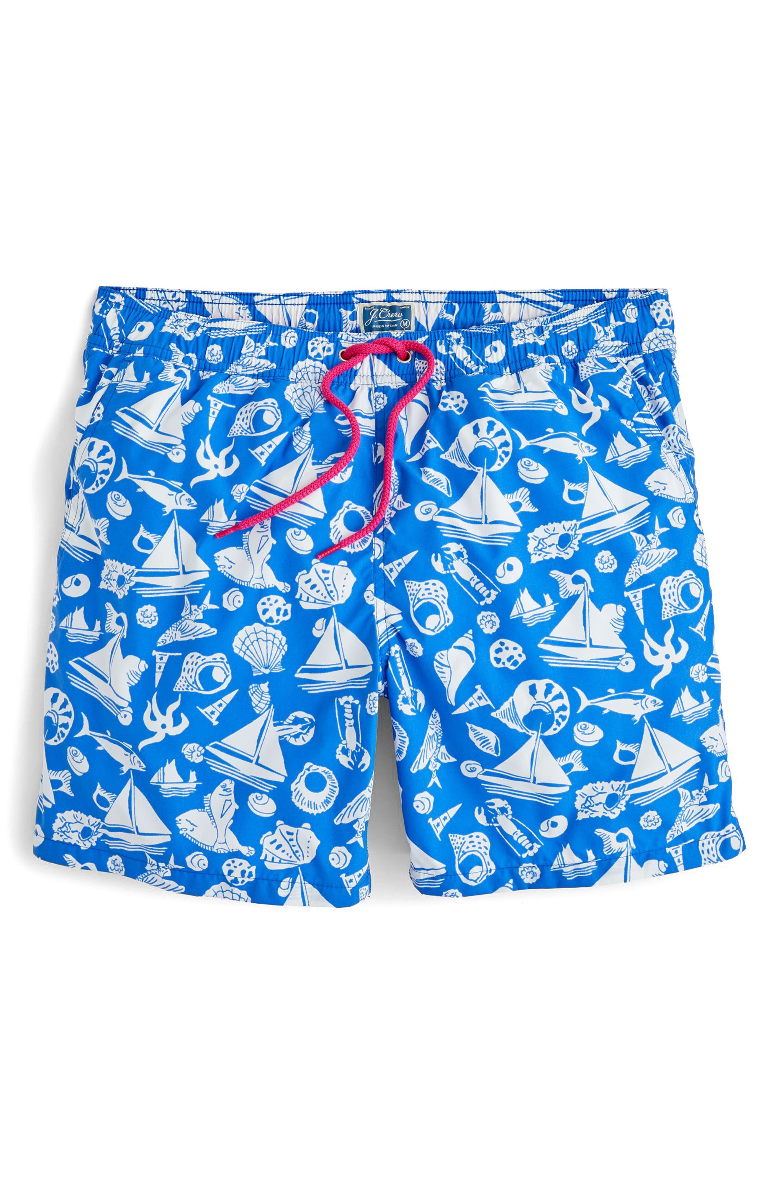 Seaside Print Swim Trunks,                         Main,                         color, Royal Bay