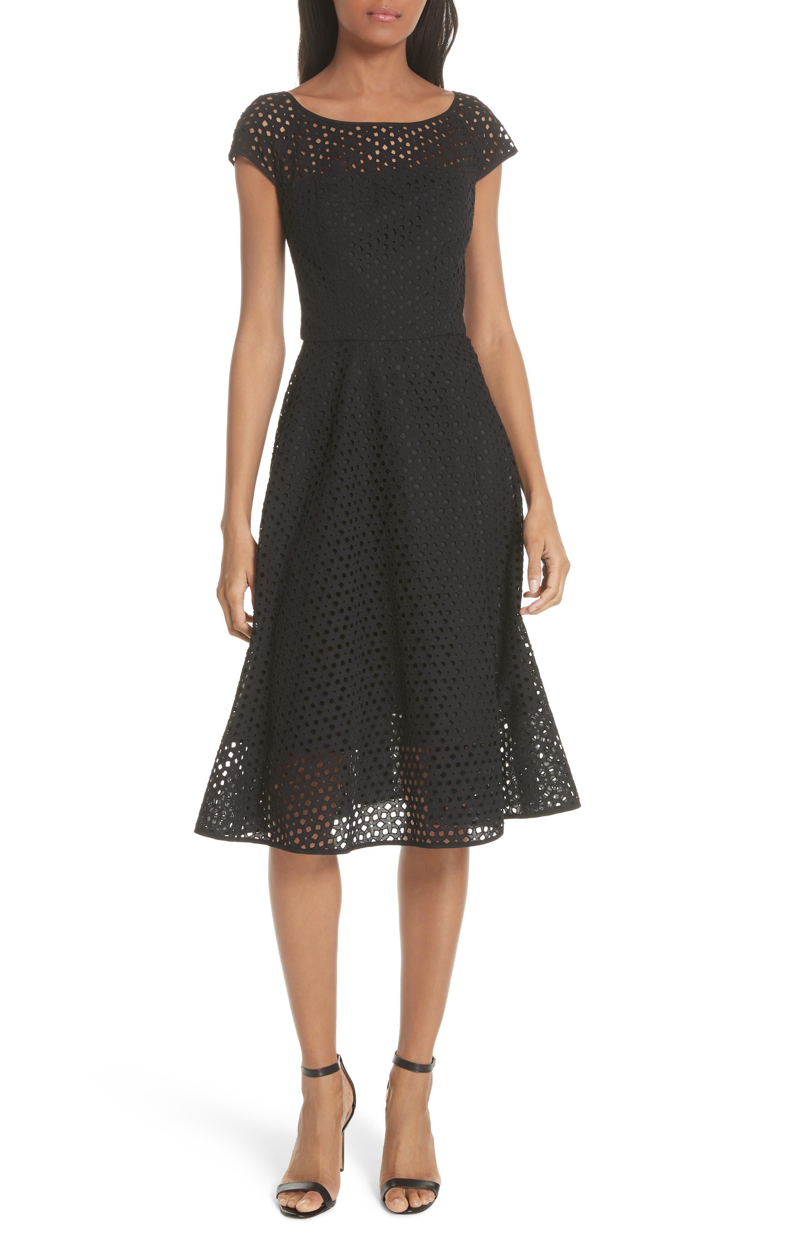 Cathy Cotton Eyelet Dress,                             Main thumbnail 1, color,                             Black