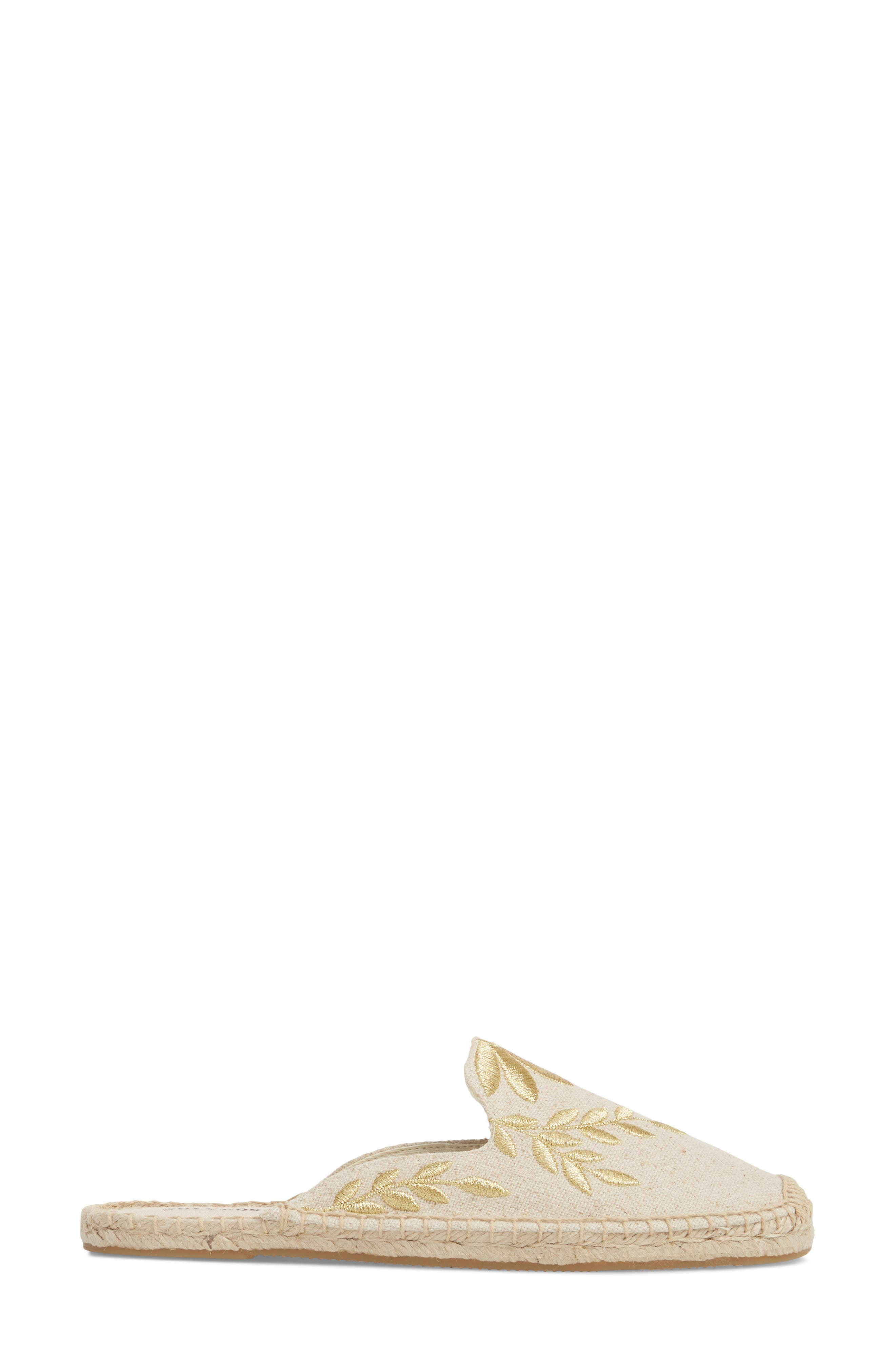 Leaf Embroidered Loafer Mule,                             Alternate thumbnail 3, color,                             Sand/ Metallic