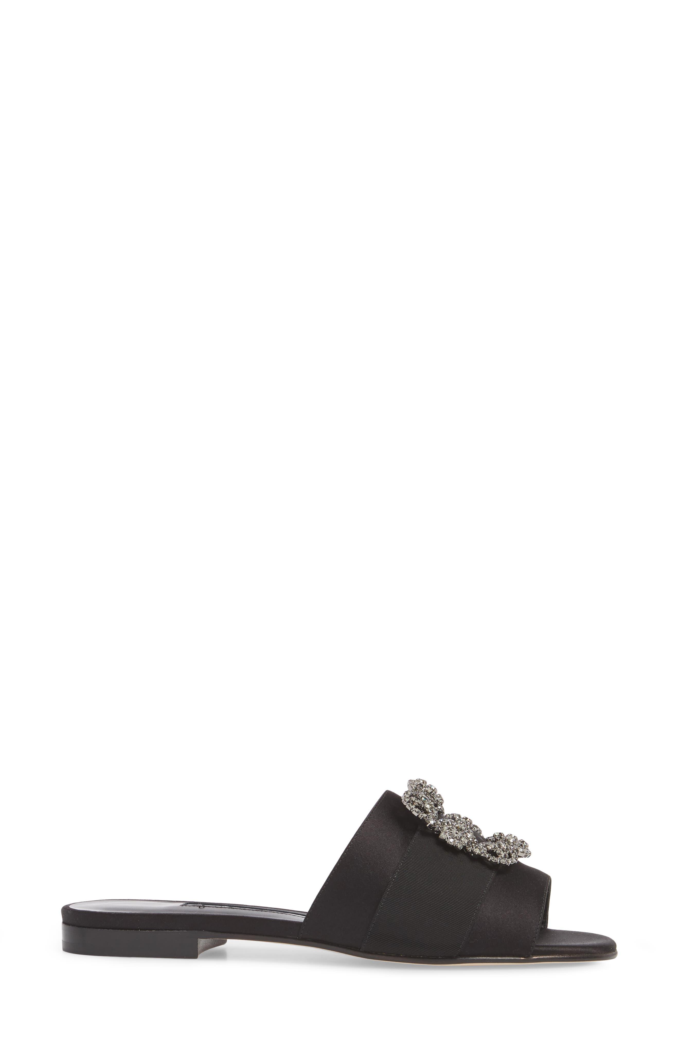 Martamod Crystal Embellished Slide Sandal,                             Alternate thumbnail 3, color,                             Black Satin