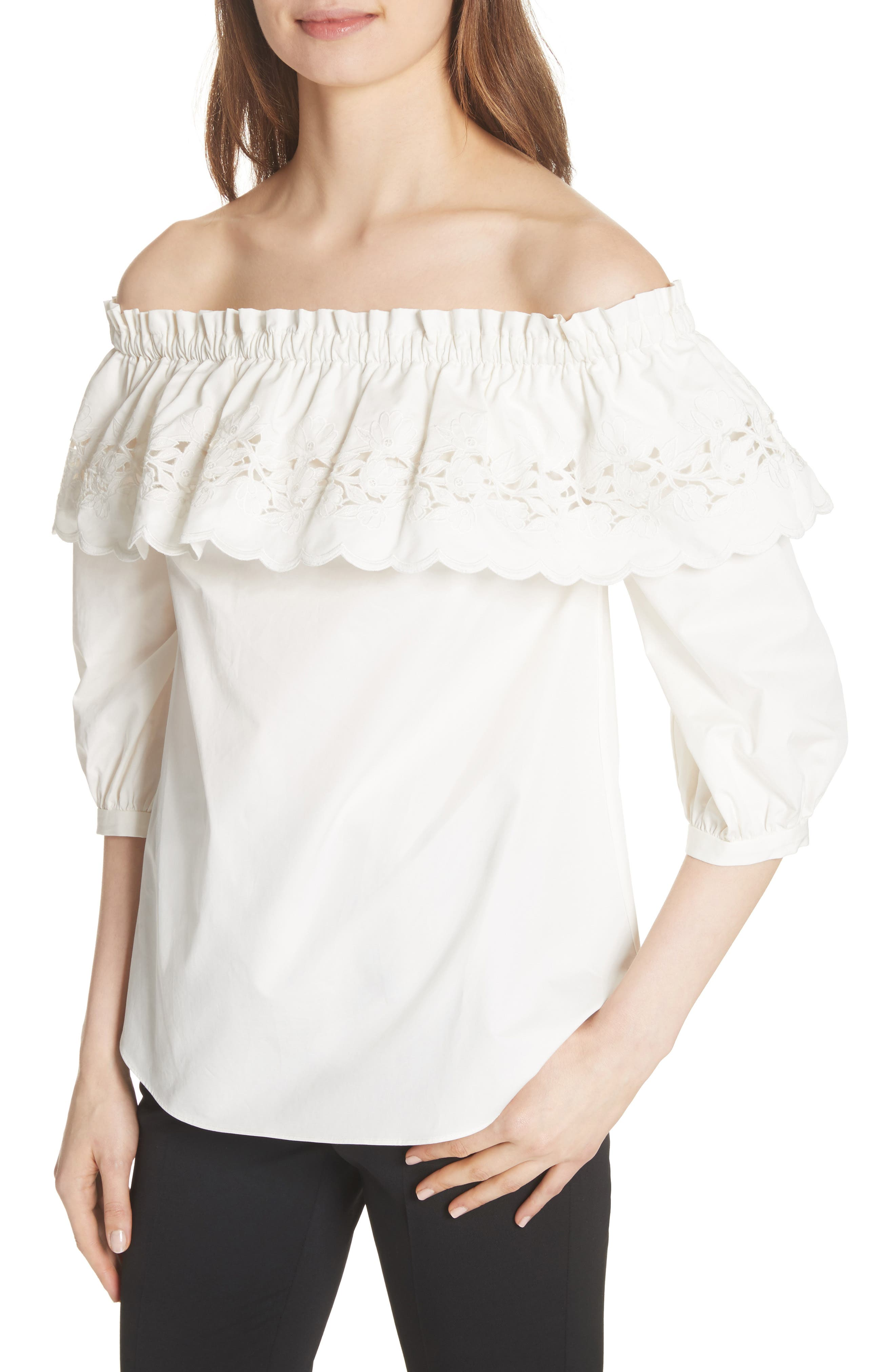 cutwork off the shoulder top,                             Alternate thumbnail 4, color,                             Fresh White