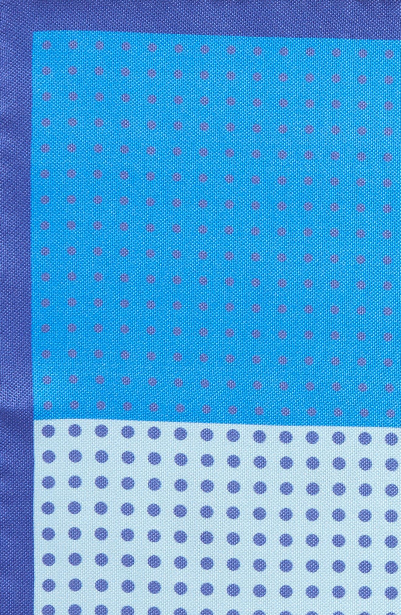 Dot Silk Pocket Square,                             Alternate thumbnail 3, color,                             Blue