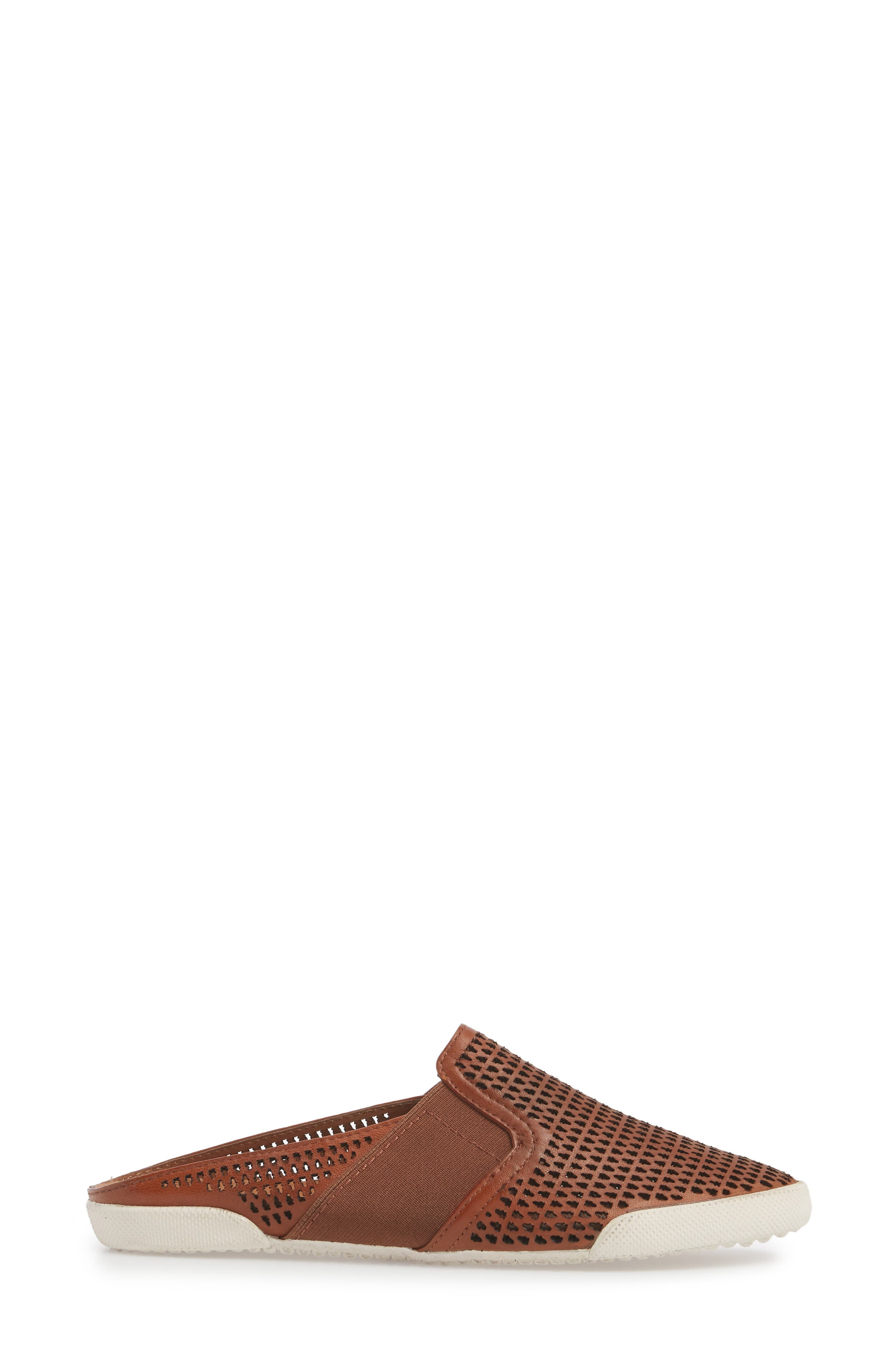 Melanie Perforated Mule,                             Alternate thumbnail 3, color,                             Cognac Leather