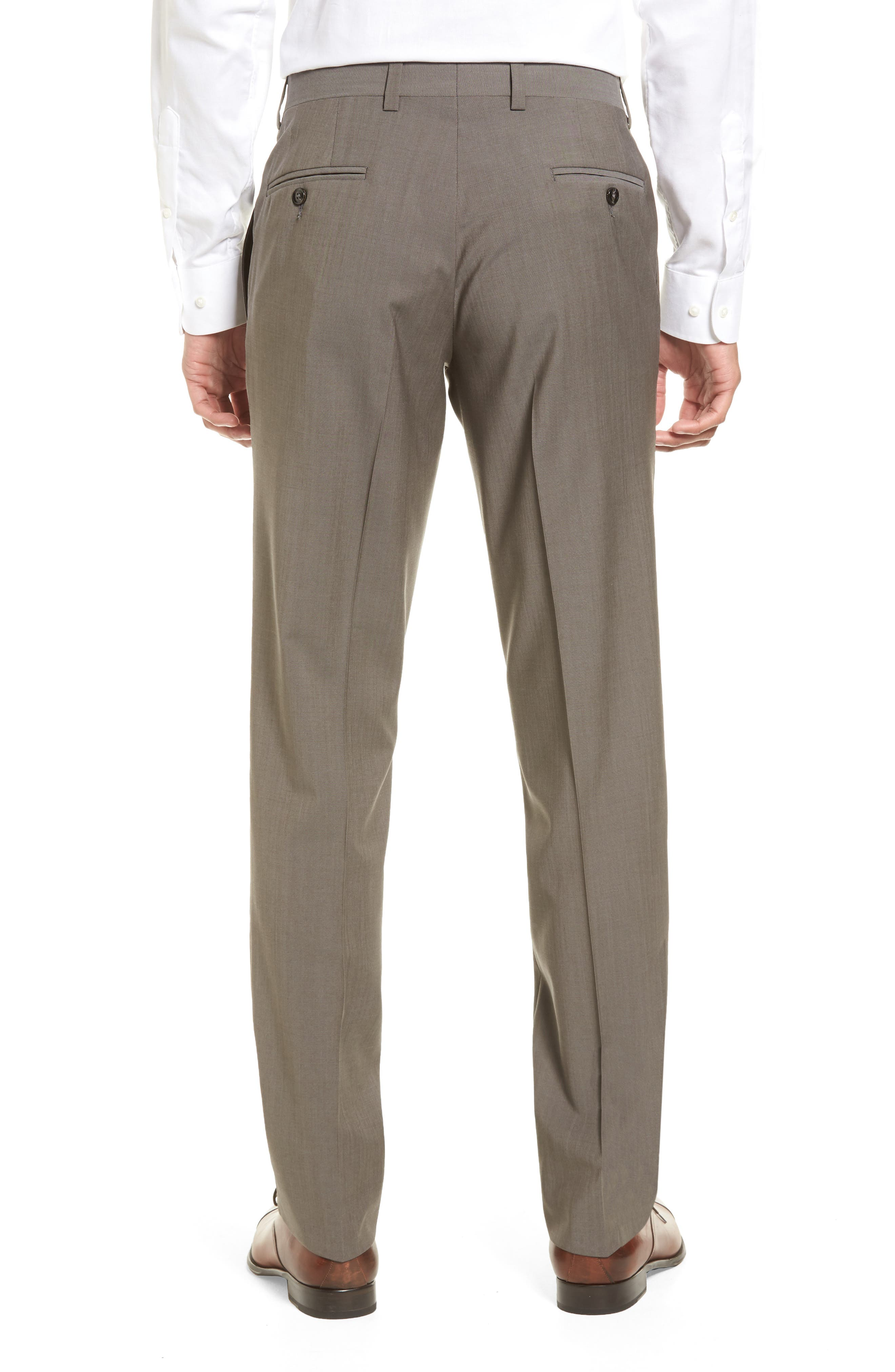 Jefferson Flat Front Stretch Wool Trousers,                             Alternate thumbnail 2, color,                             Grey