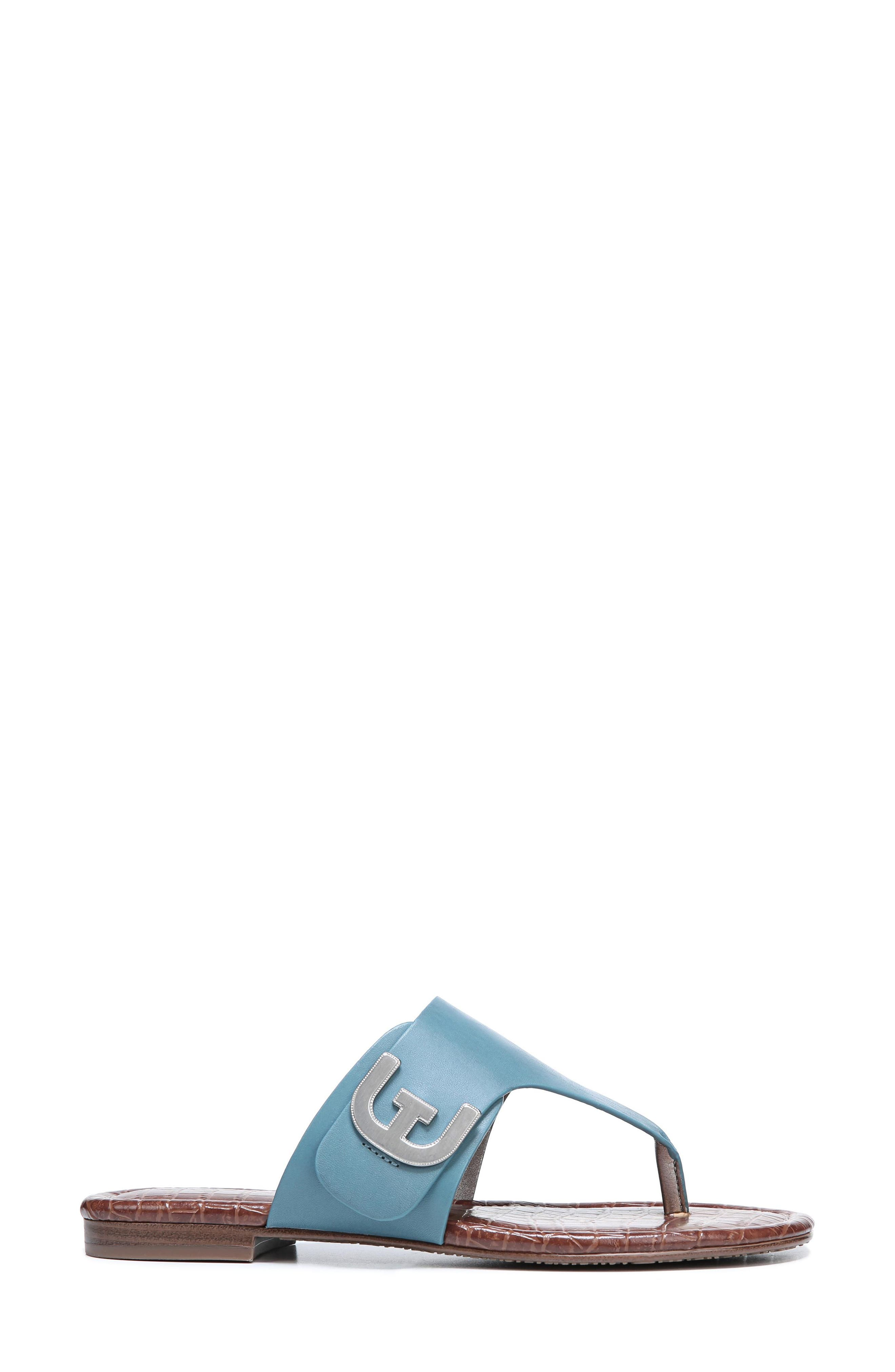 Barry V-Strap Thong Sandal,                             Alternate thumbnail 3, color,                             Denim Blue Leather