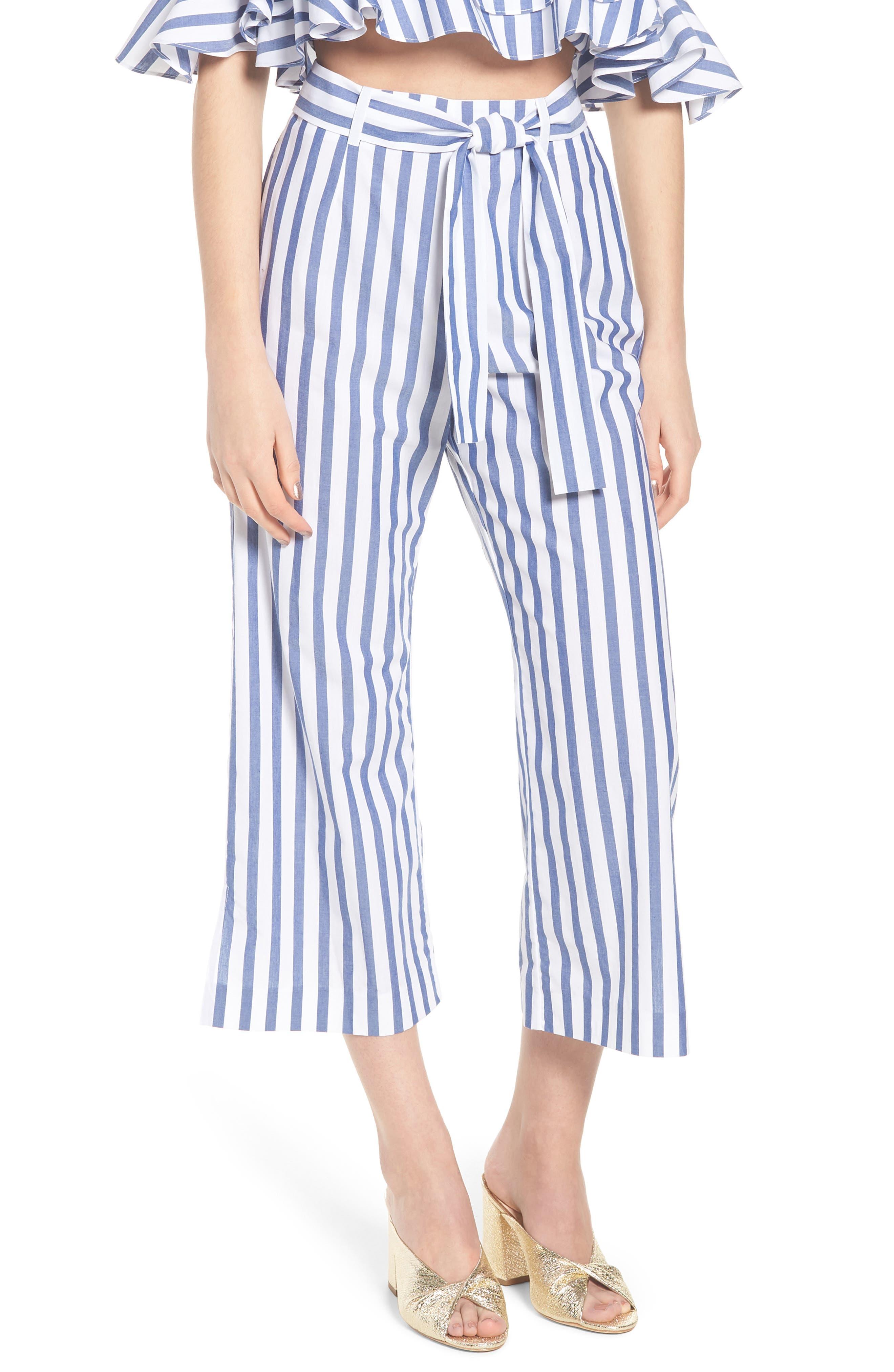 Aversa Crop Wide Leg Pants,                             Main thumbnail 1, color,                             Navy Stripe