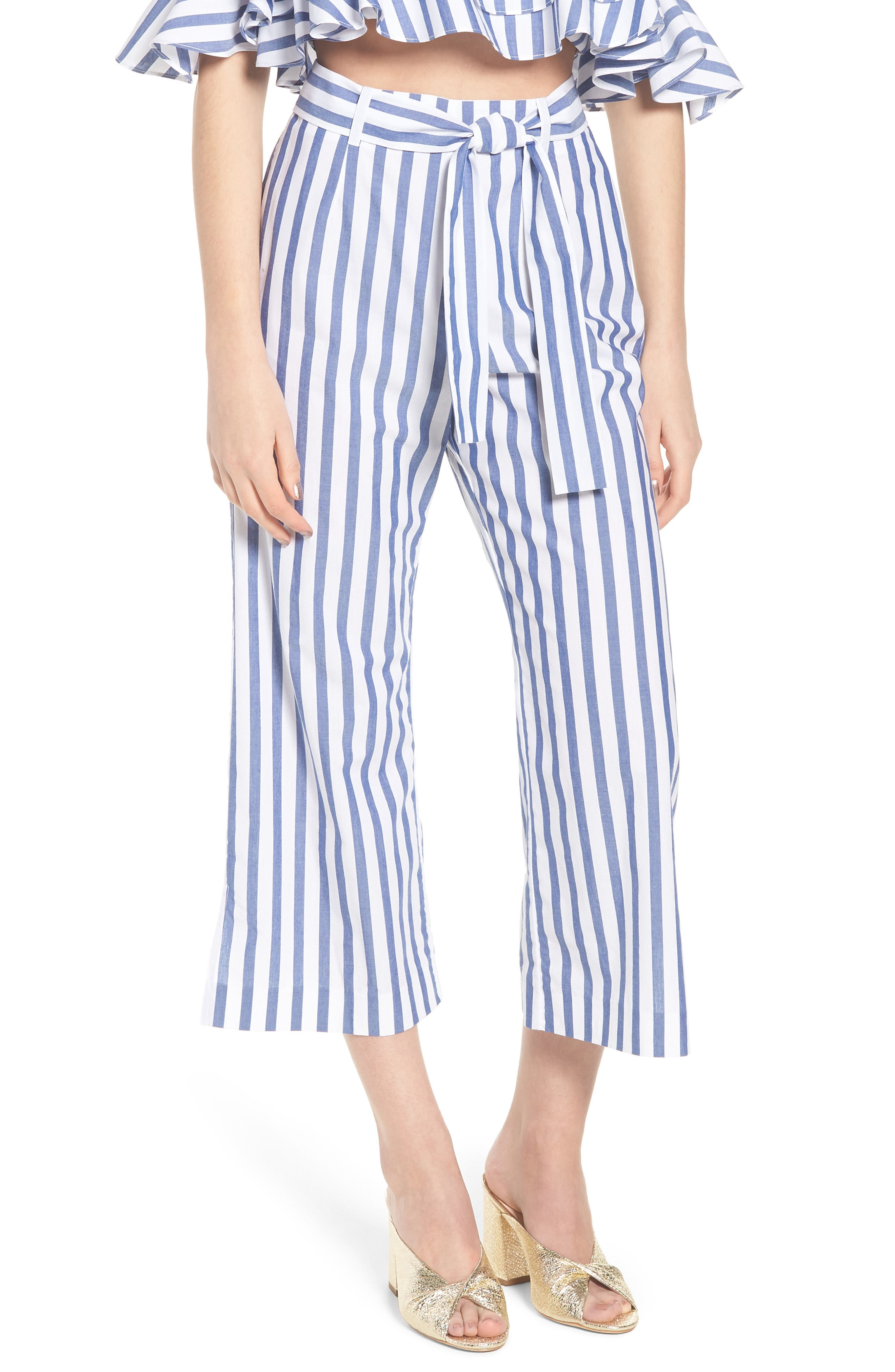 Aversa Crop Wide Leg Pants,                         Main,                         color, Navy Stripe