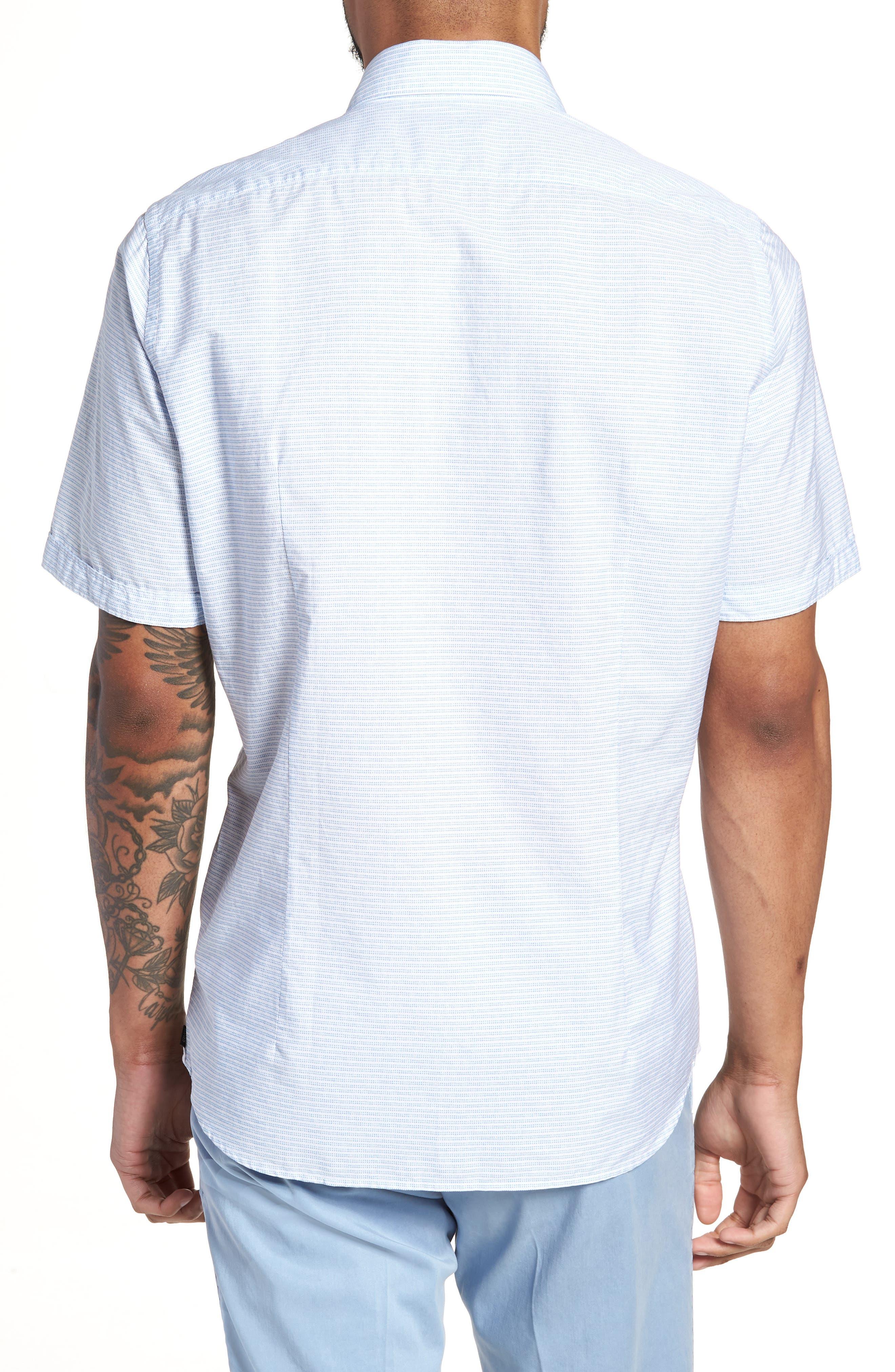 Lodi Slim Fit Stripe Sport Shirt,                             Alternate thumbnail 3, color,                             Light Blue