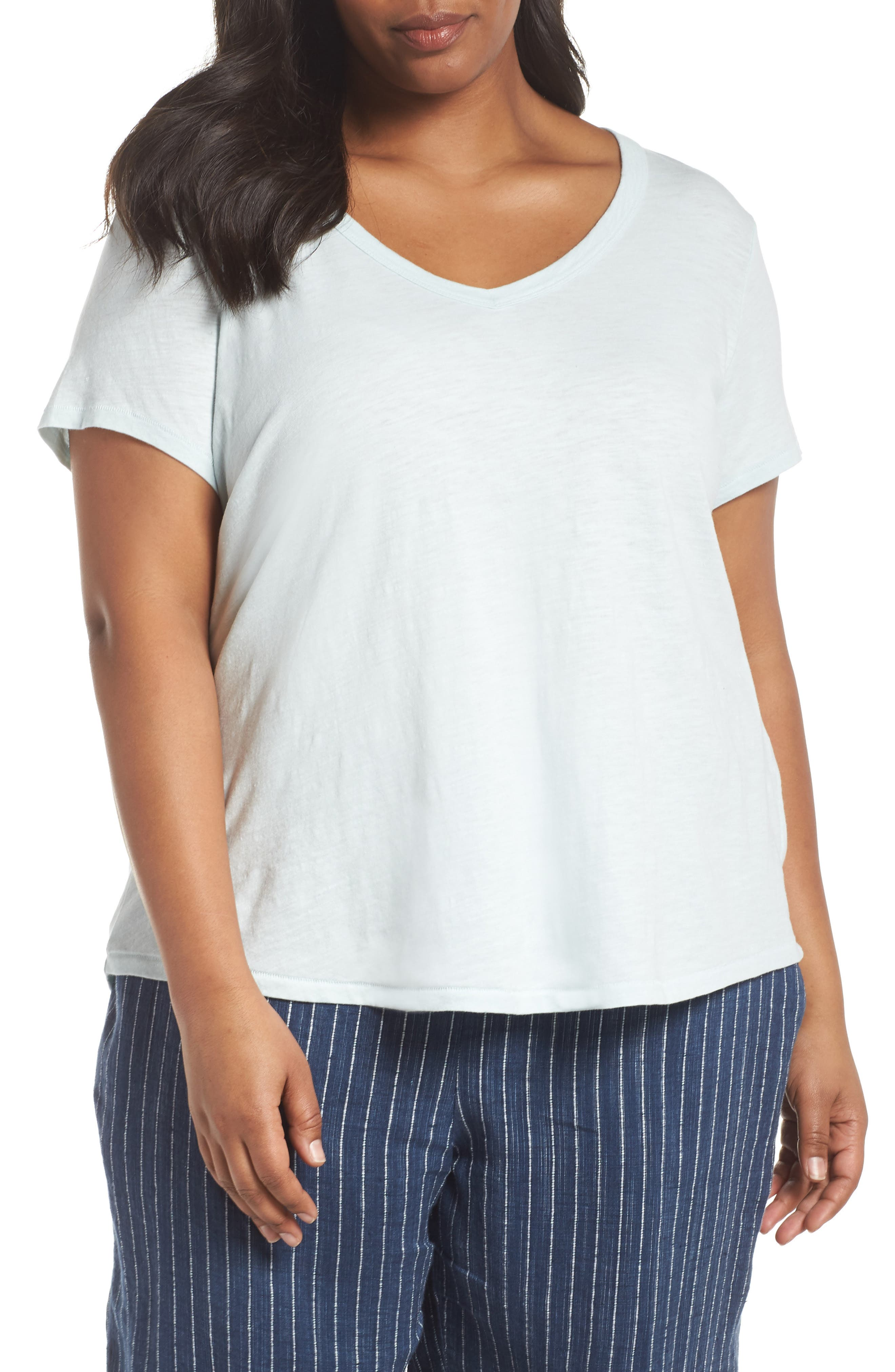 Alternate Image 1 Selected - Eileen Fisher V-Neck Organic Cotton Tee (Plus Size)