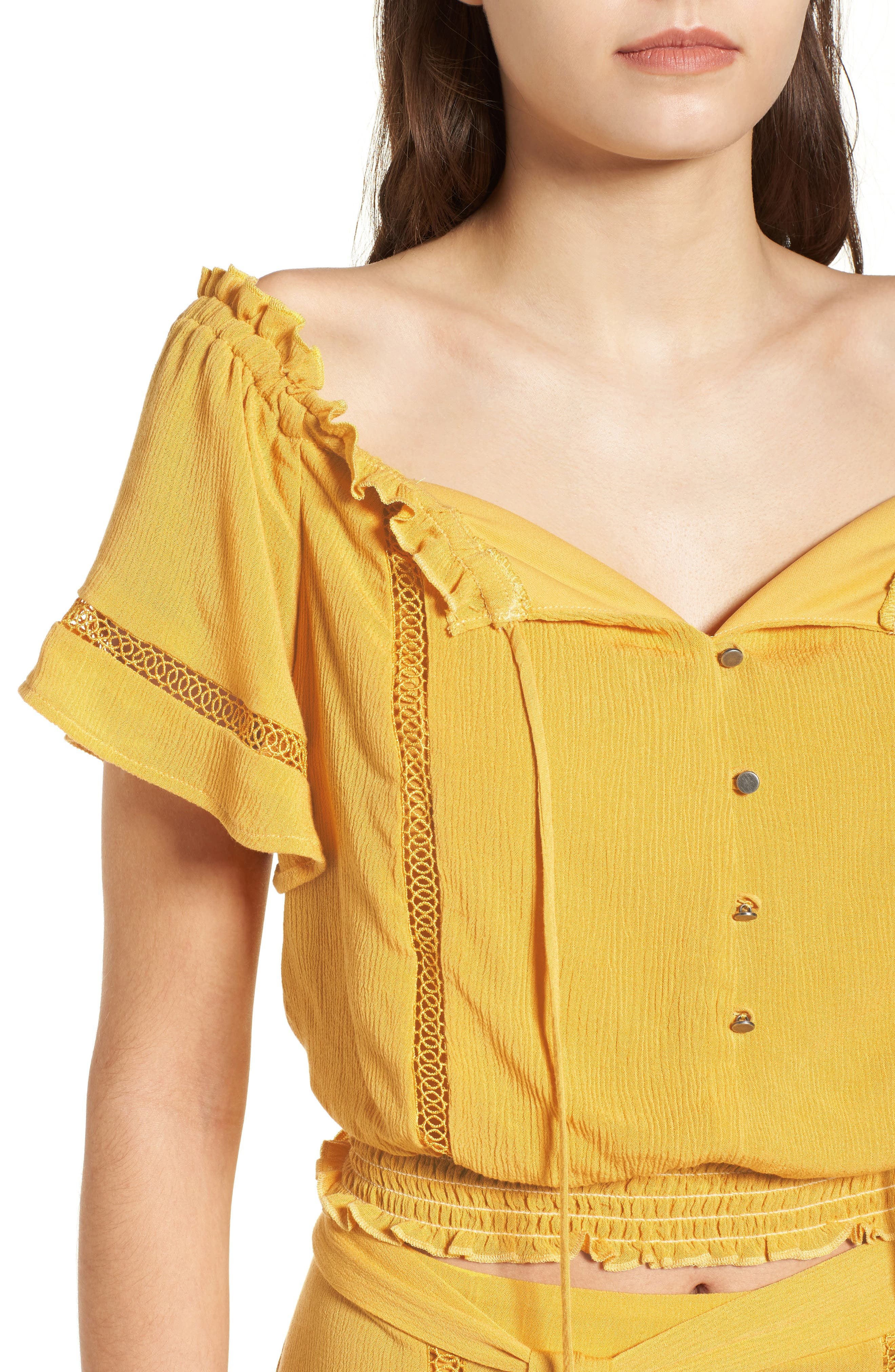 Off the Shoulder Crop Top,                             Alternate thumbnail 5, color,                             Yellow Sulphur