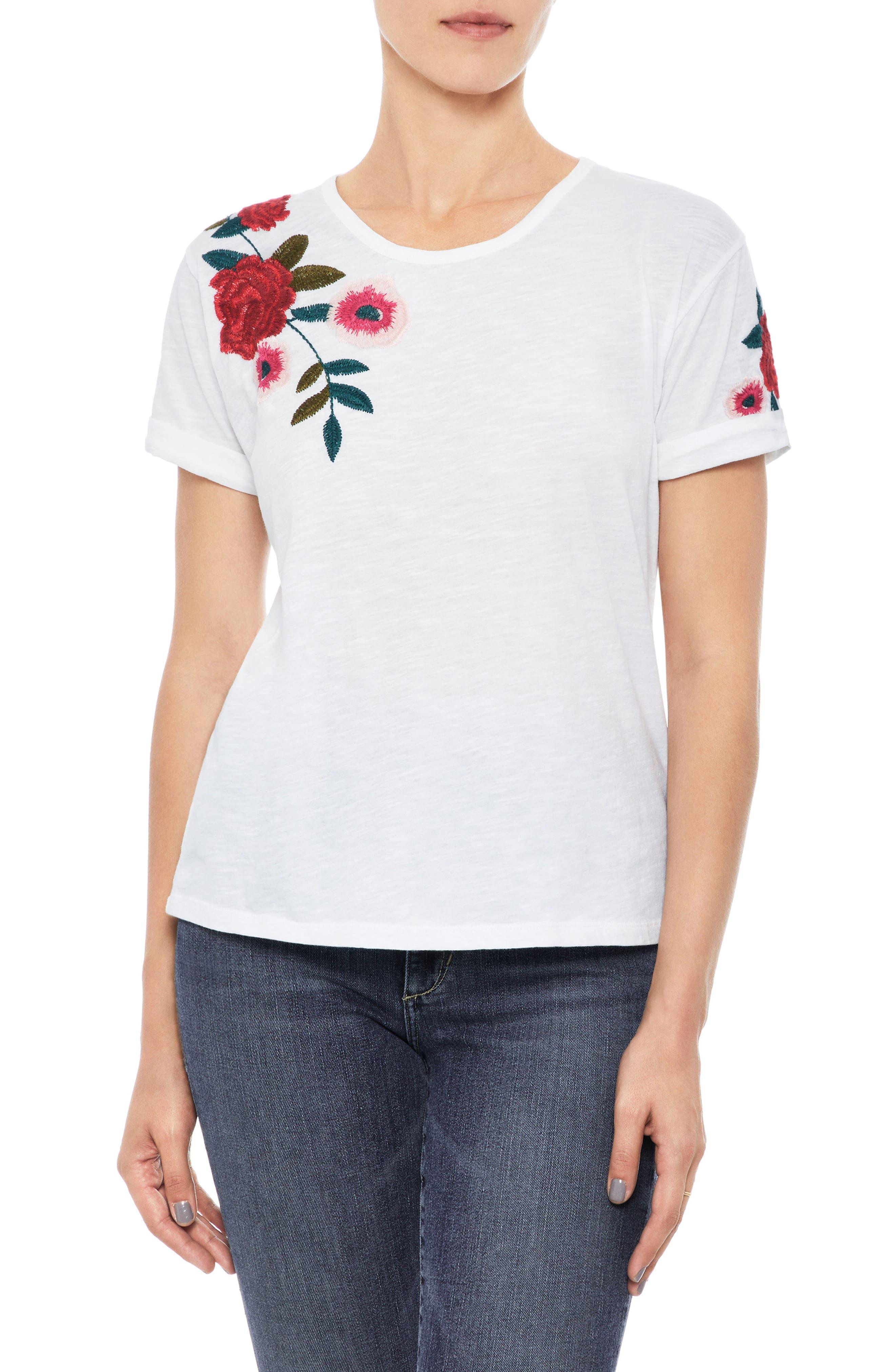 Azalea Embroidered Tee,                         Main,                         color, White