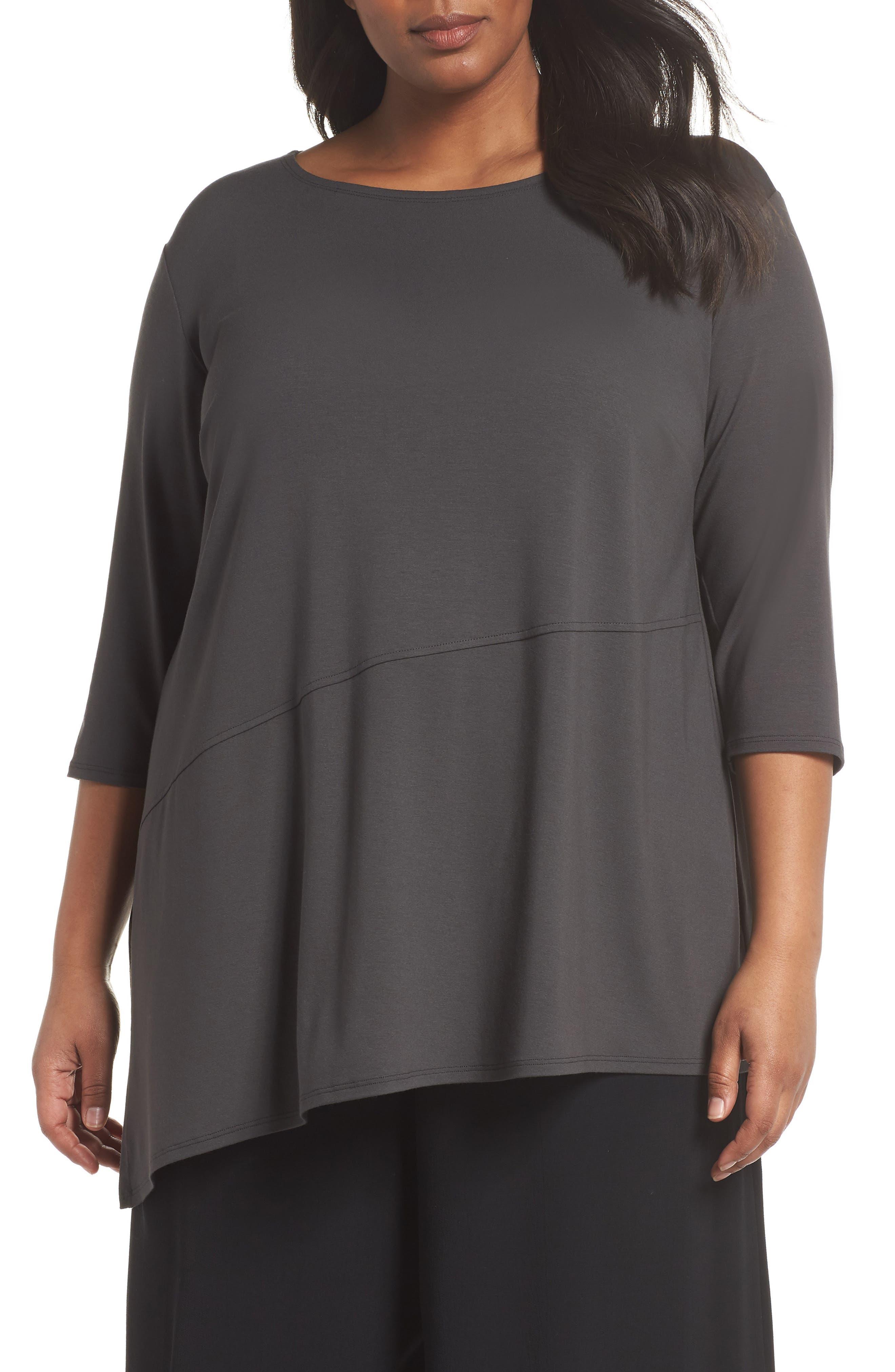 Jewel Neck Asymmetrical Top,                         Main,                         color, Graphite