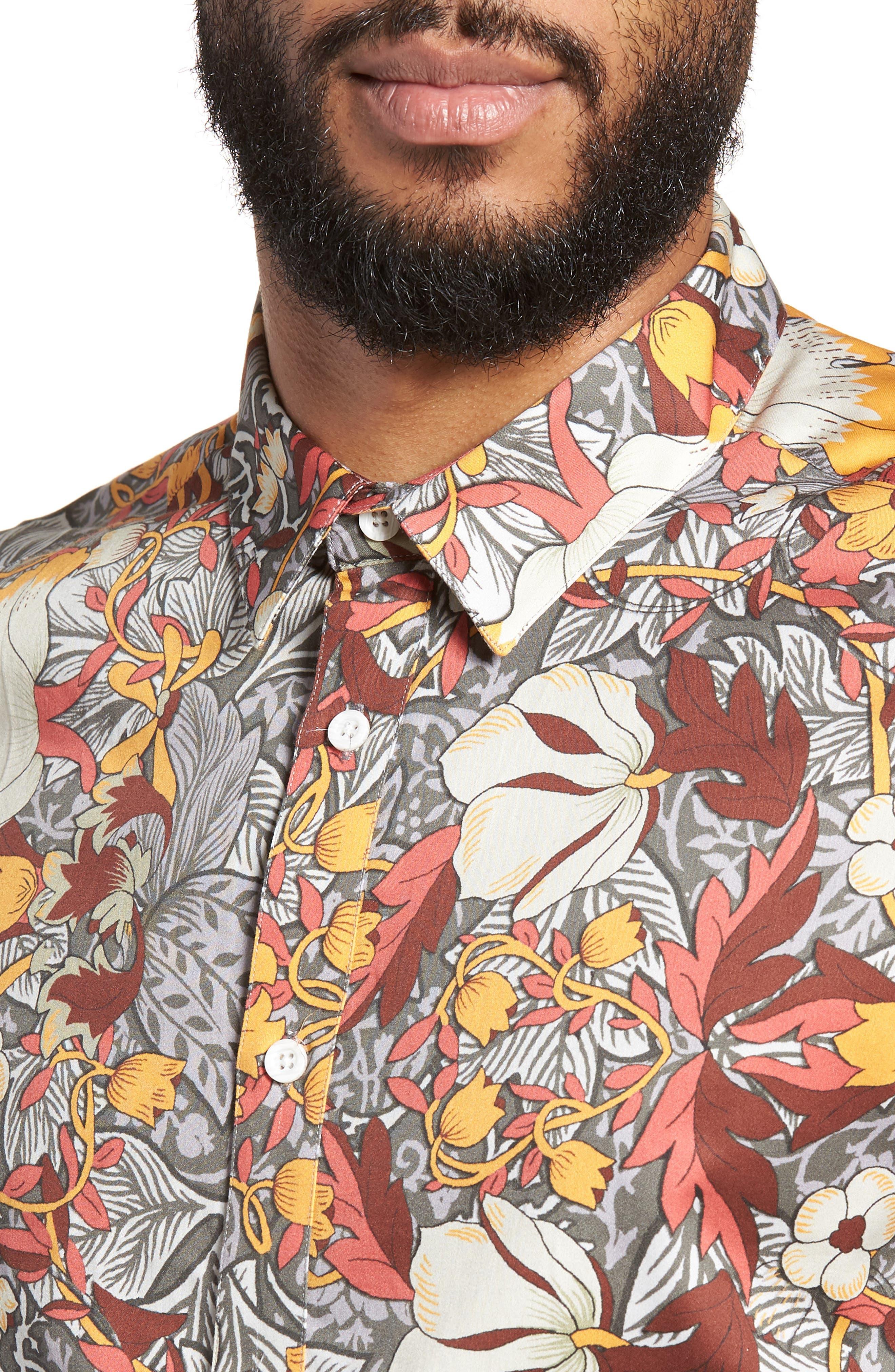 Trim Fit Woven Short Sleeve Shirt,                             Alternate thumbnail 4, color,                             Grey