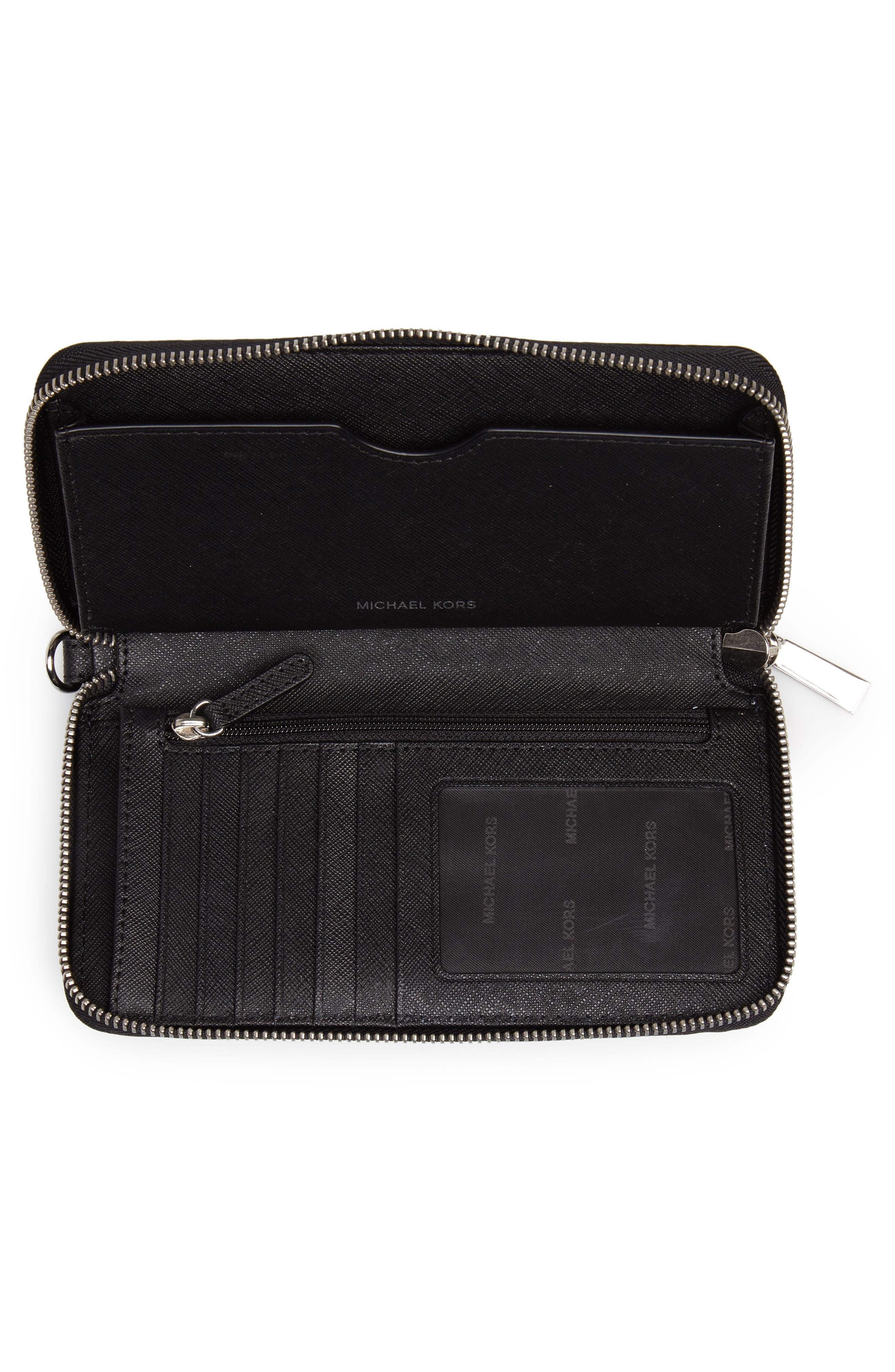 Mercer Large Leather Wristlet,                             Alternate thumbnail 2, color,                             Black