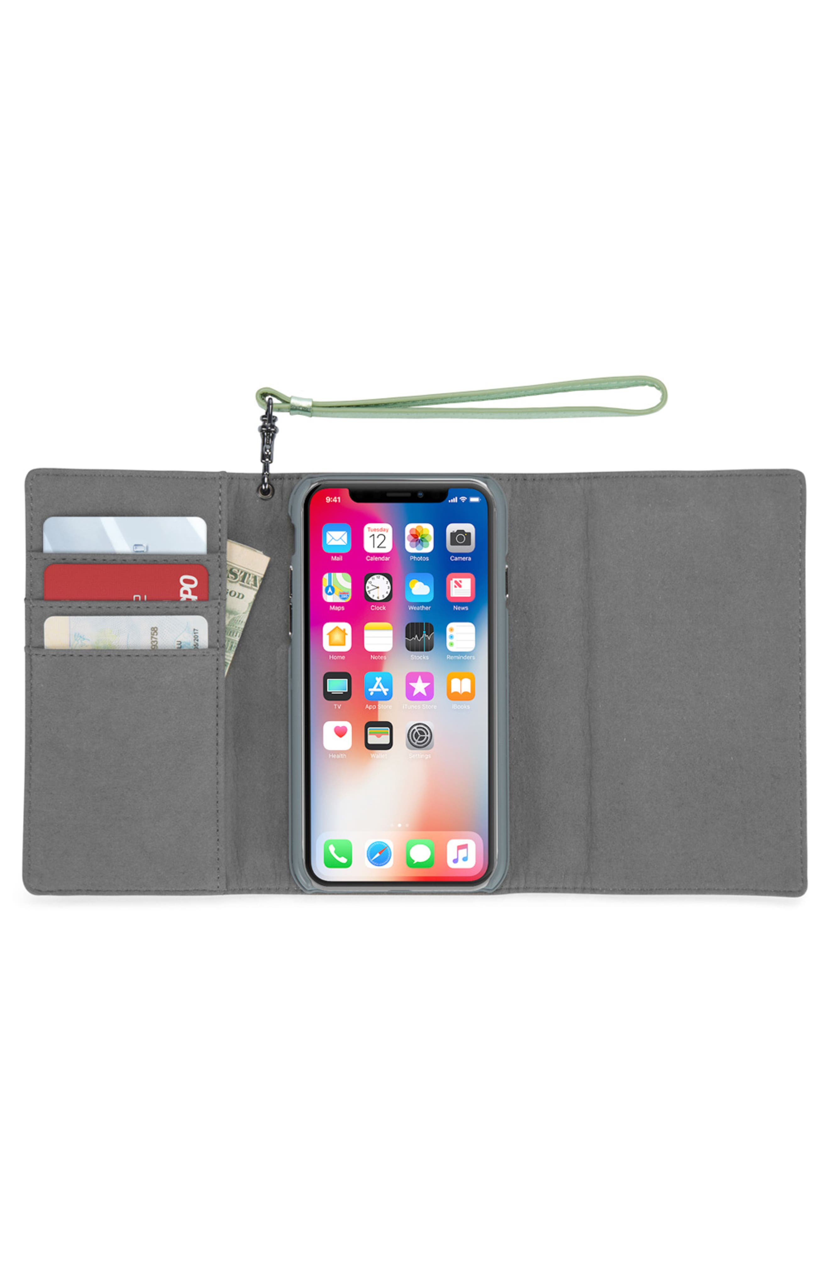 Love Lock iPhone X Leather Wristlet Folio,                             Alternate thumbnail 2, color,                             Metallic Mint