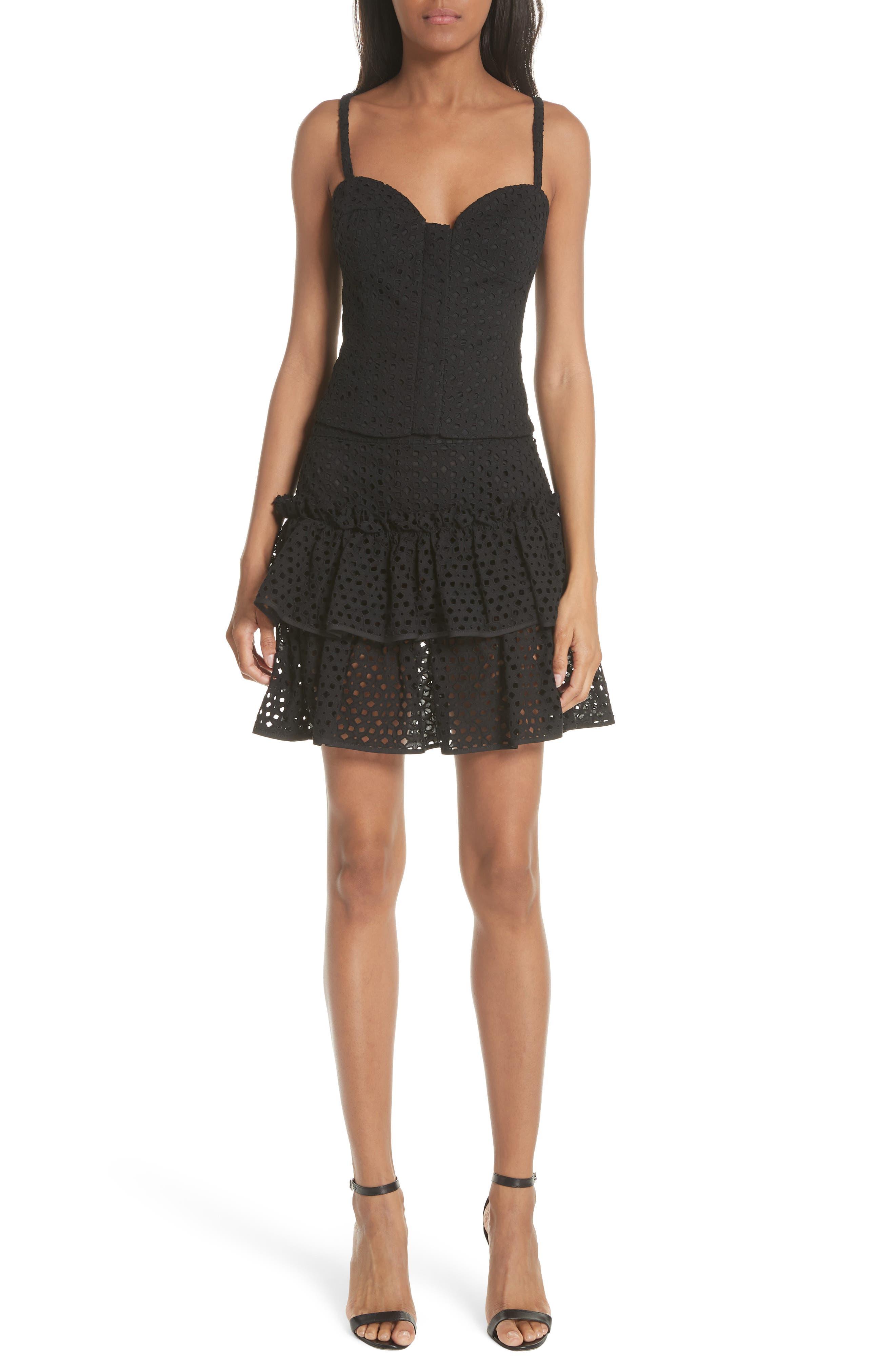 Floral Ruffle Tiered Cotton Eyelet Miniskirt,                             Alternate thumbnail 7, color,                             Black