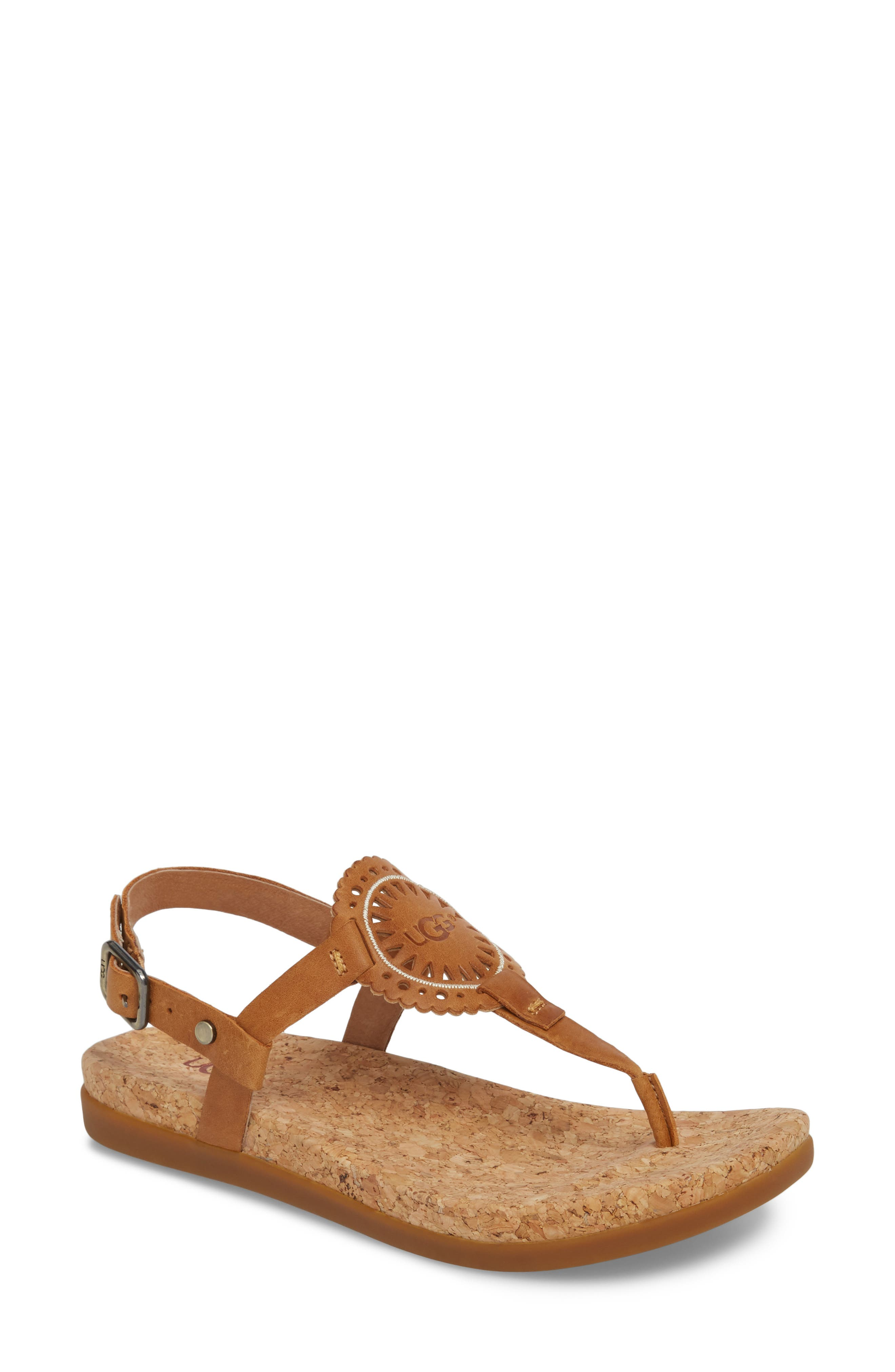 Ayden II T-Strap Sandal,                         Main,                         color, Almond Leather