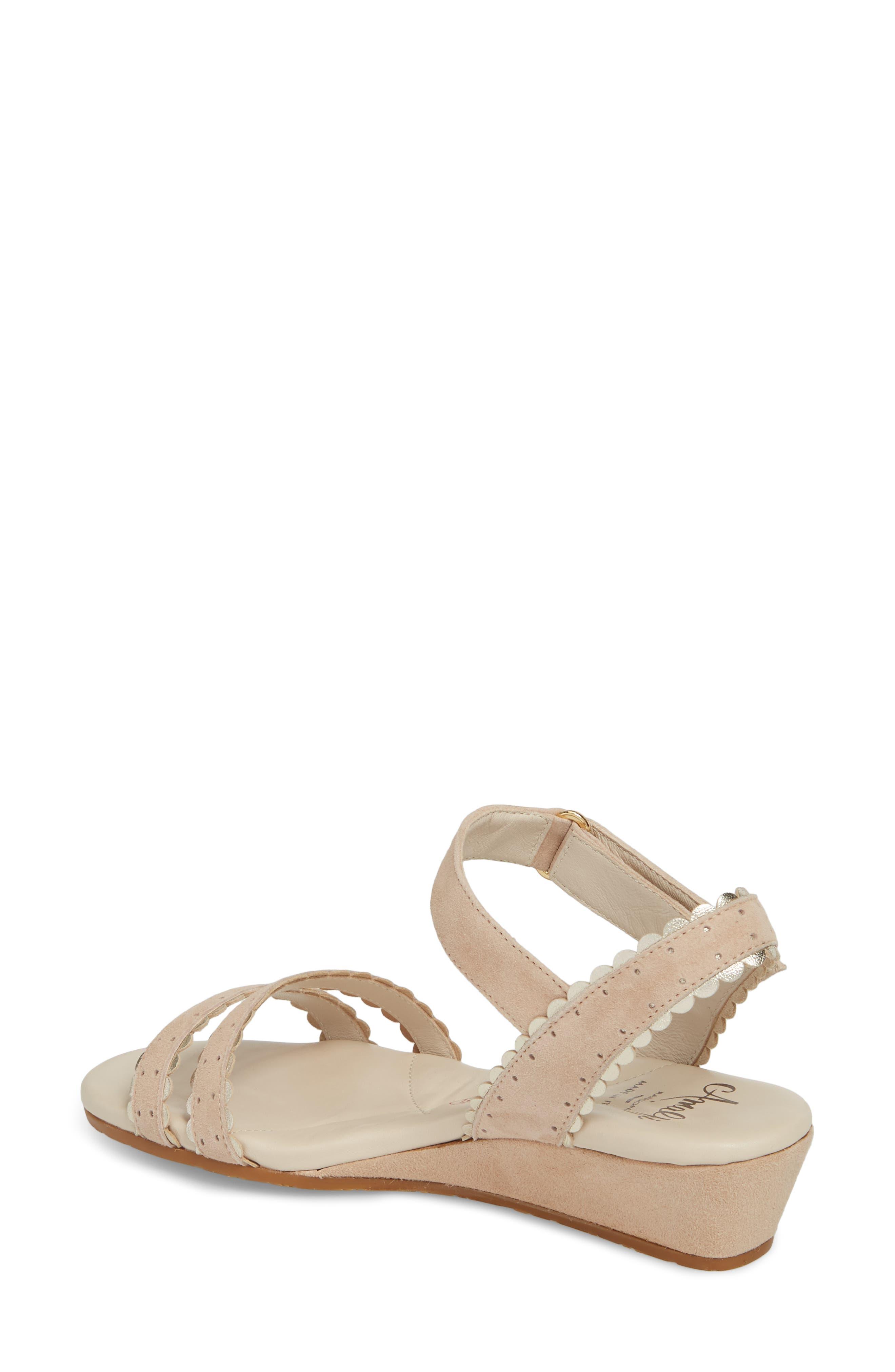 Messina Wedge Sandal,                             Alternate thumbnail 2, color,                             Cream/ Platinum Suede