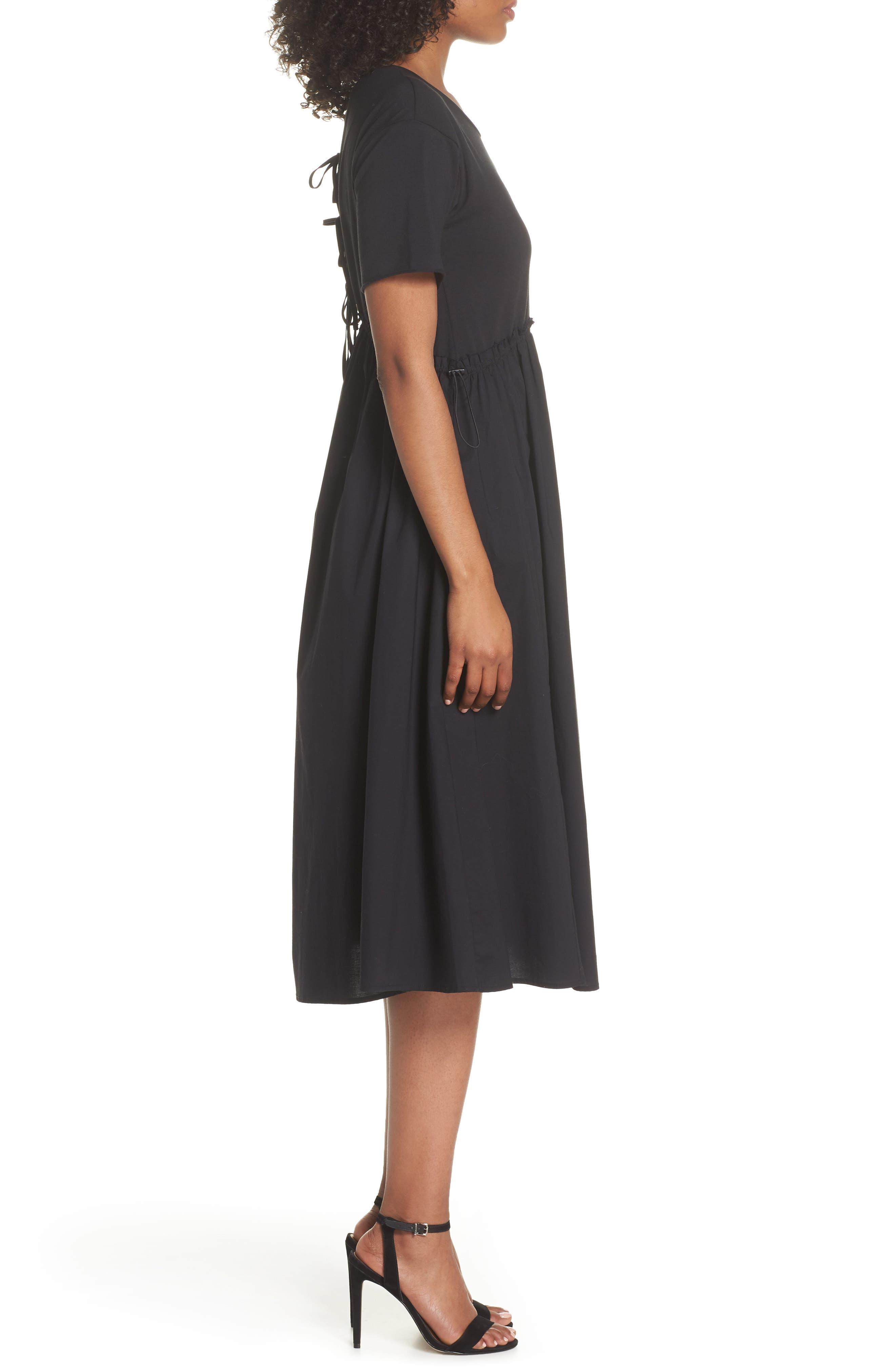 Tie Back Midi Dress,                             Alternate thumbnail 3, color,                             Black
