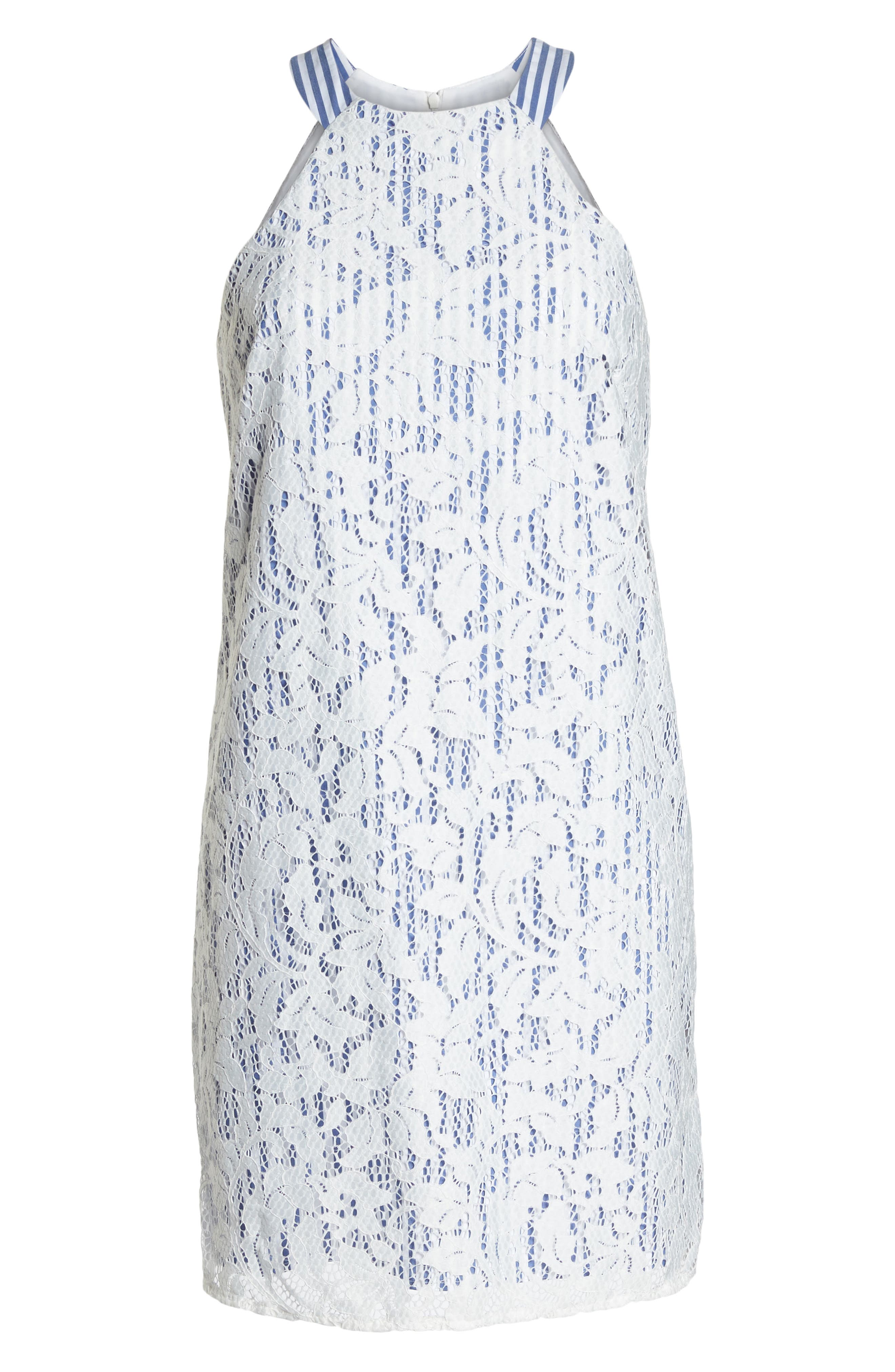 Pinstripe Lace Overlay Shift Dress,                             Alternate thumbnail 7, color,                             White/ Blue