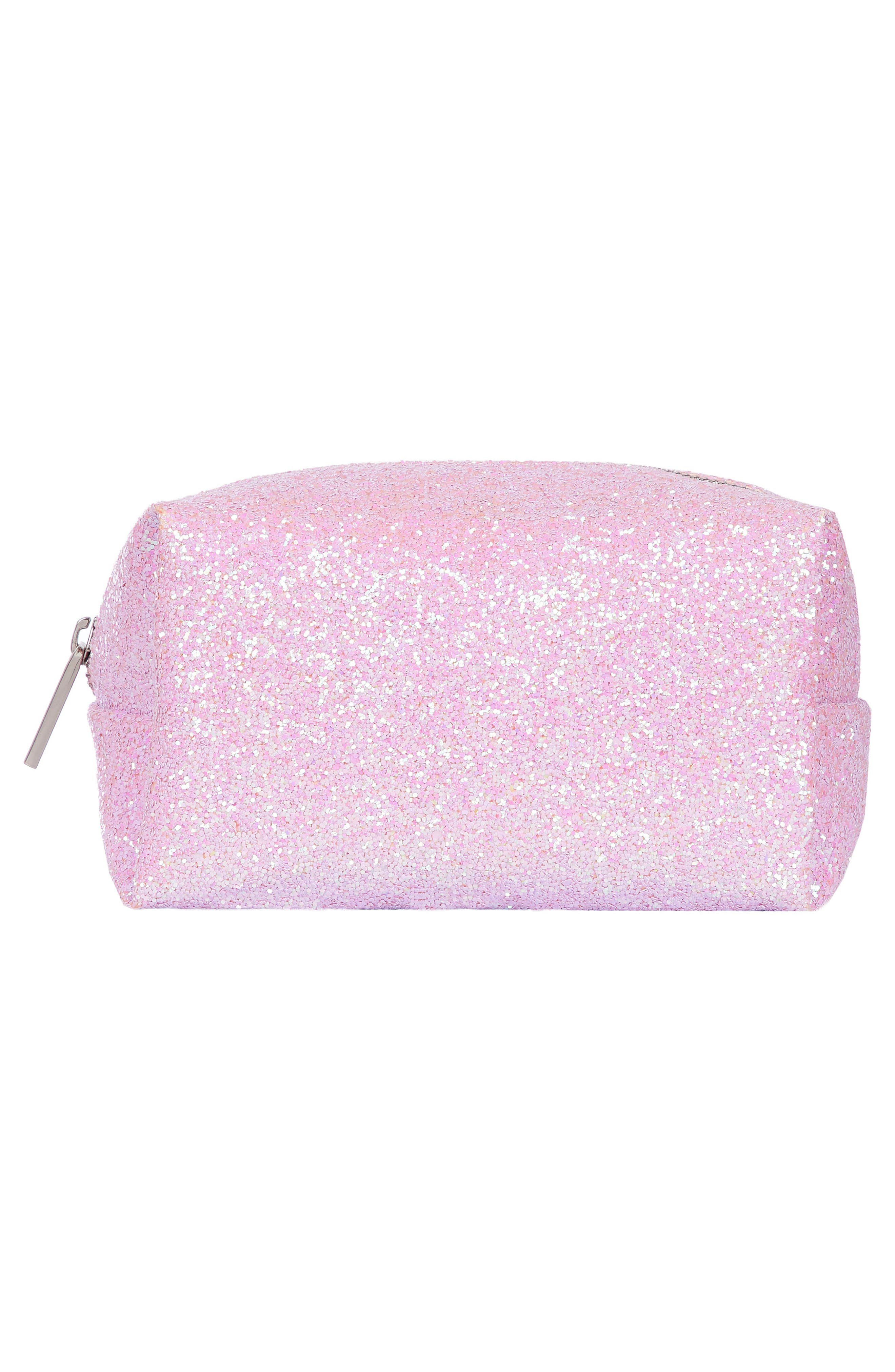 Skinny Dip Pink Glitsy Cosmetics Case,                             Alternate thumbnail 2, color,                             No Color