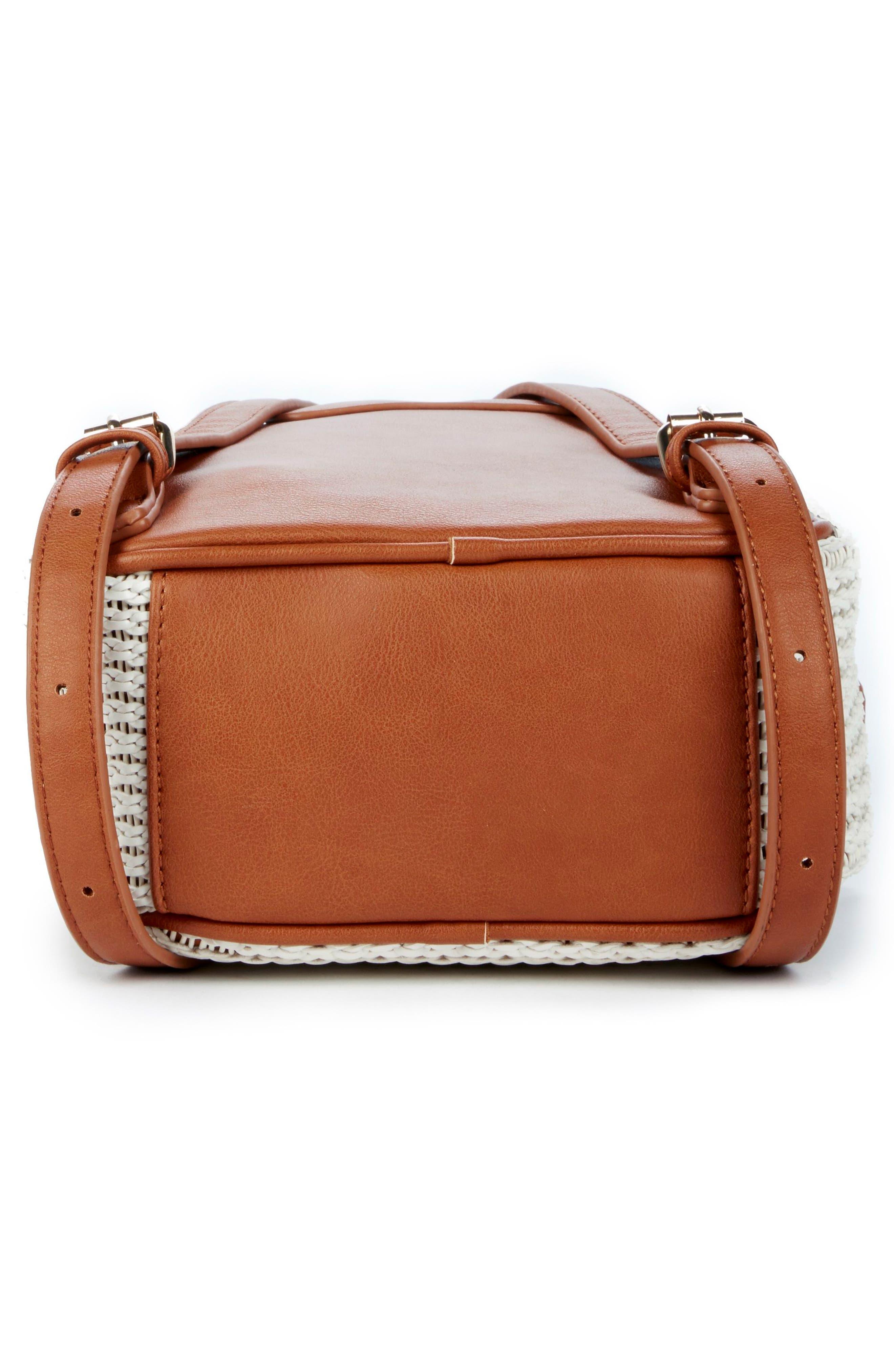 Nikole Faux Leather Backpack,                             Alternate thumbnail 5, color,                             Camel
