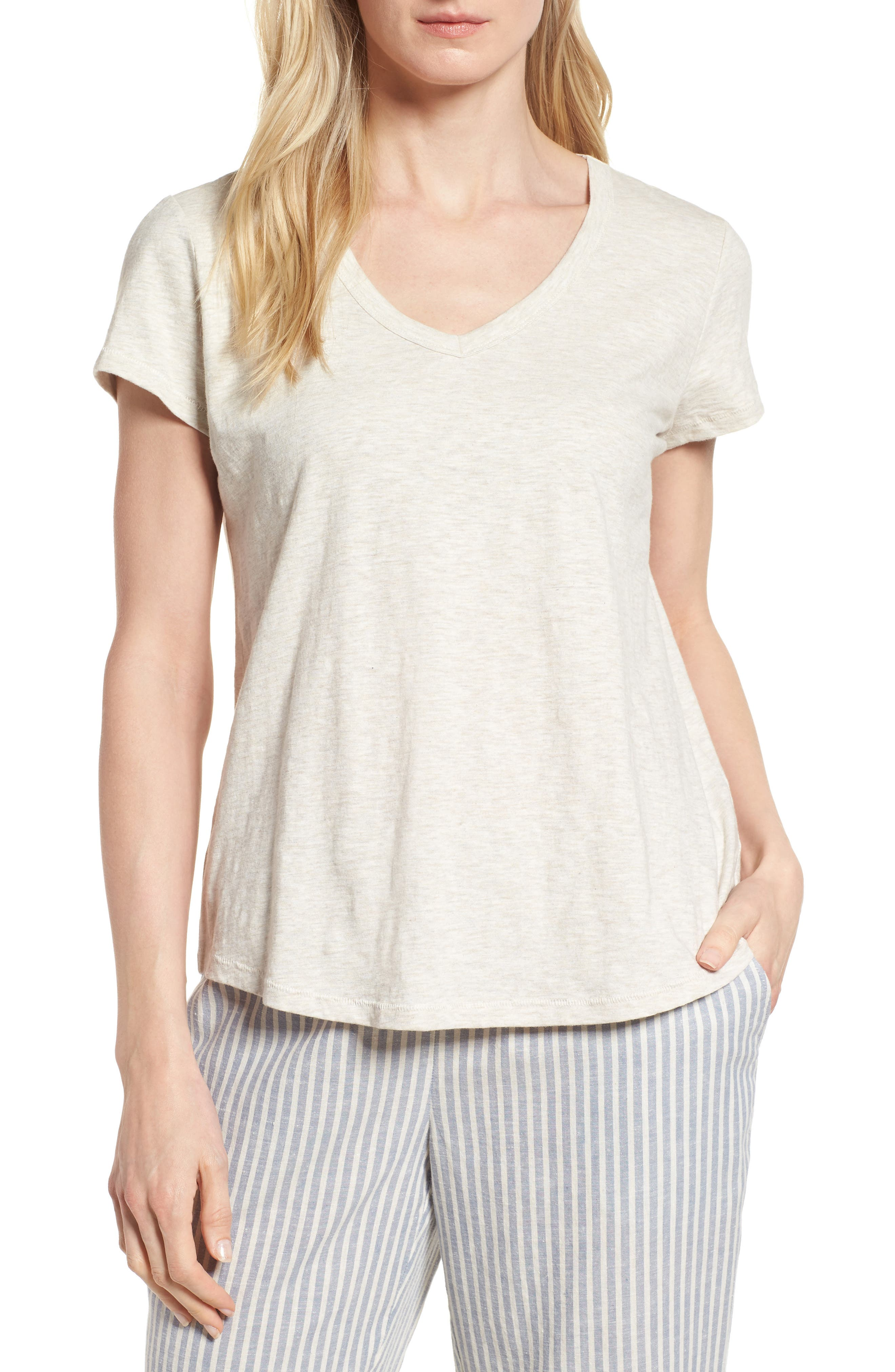 Organic Cotton V-Neck Tee,                         Main,                         color, Natural