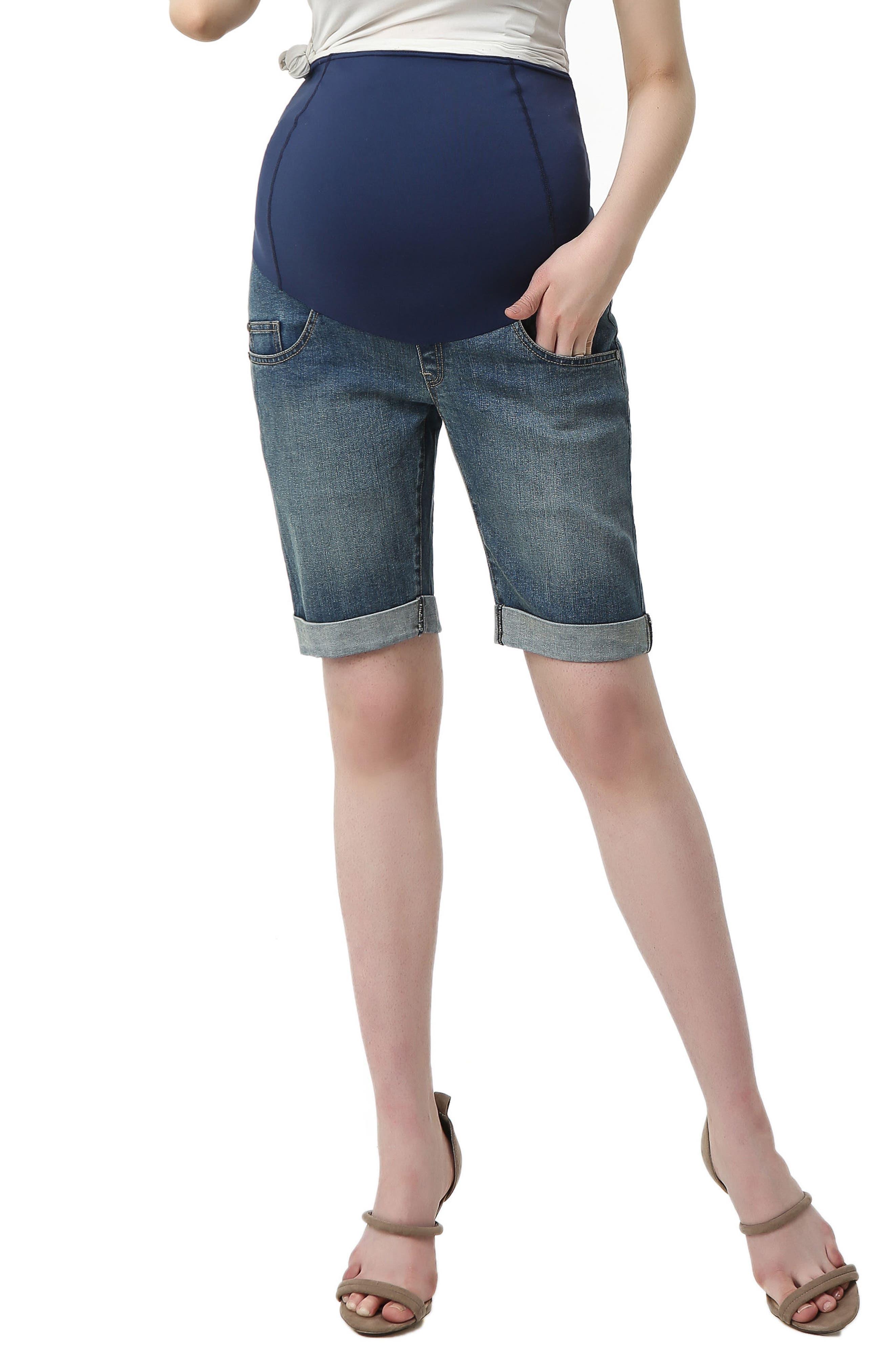 Abbie Denim Stretch Maternity Shorts,                             Main thumbnail 1, color,                             Medium Indigo