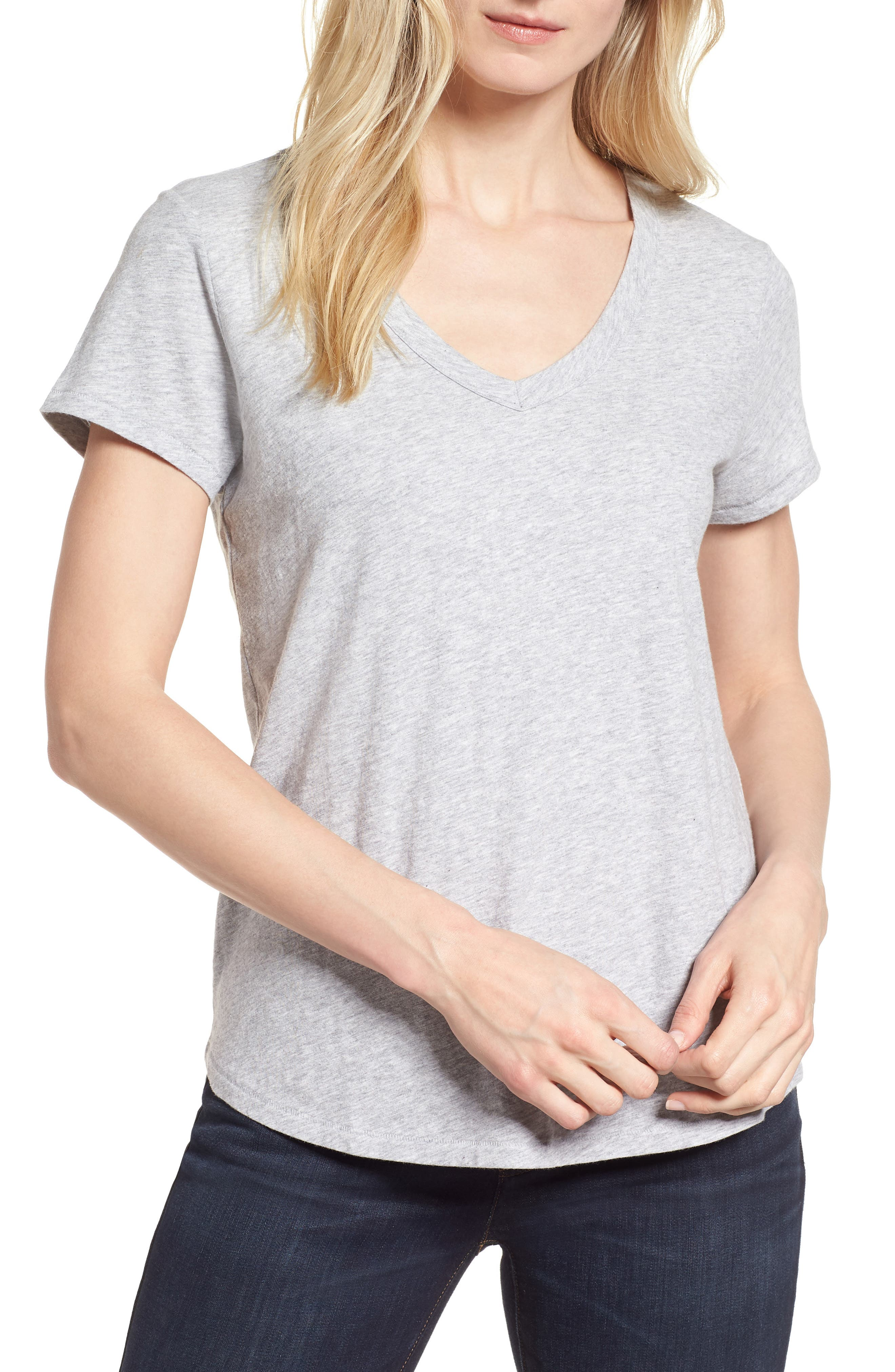 Alternate Image 1 Selected - Eileen Fisher Organic Cotton V-Neck Tee