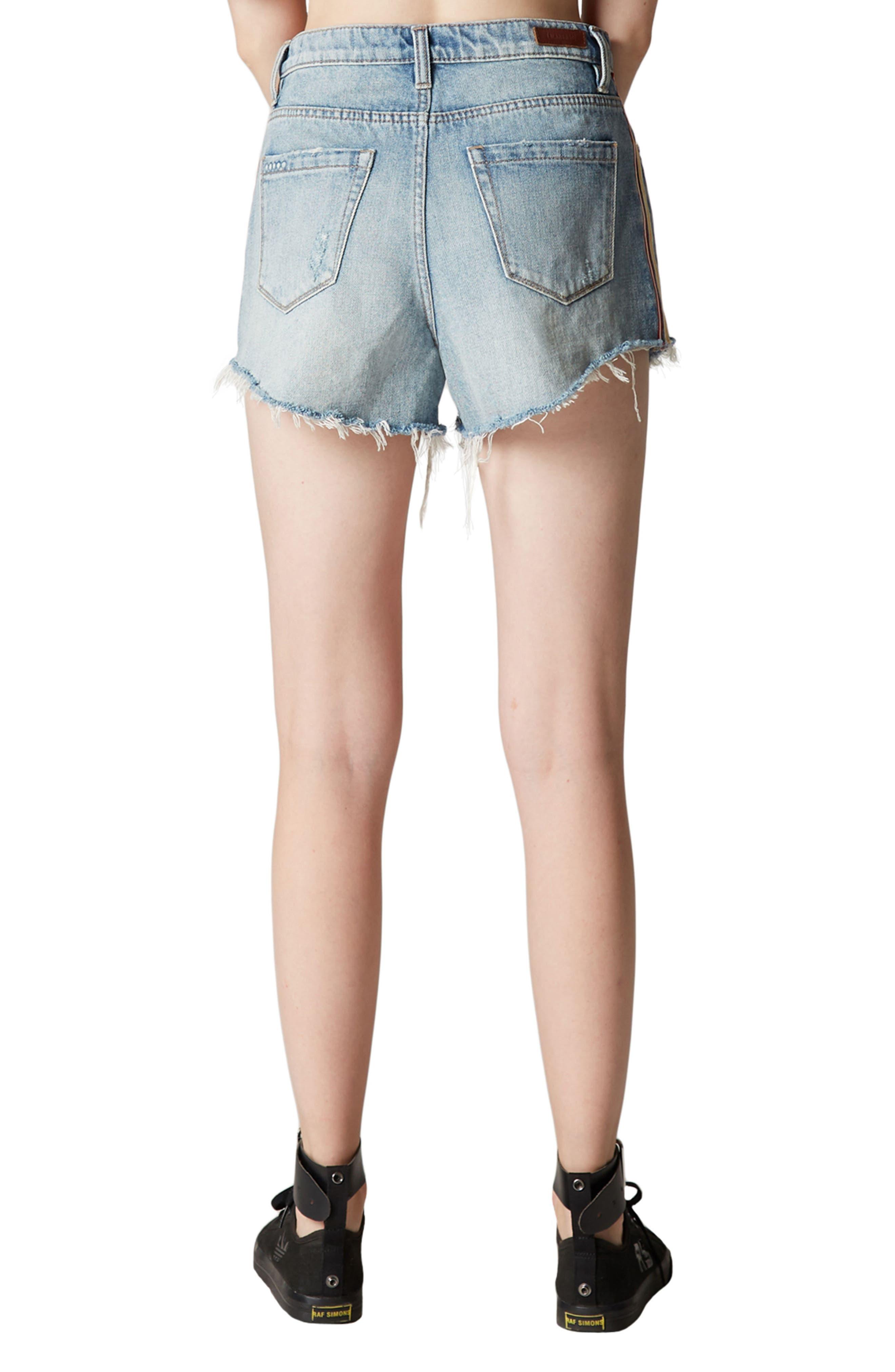 Now or Never Side Stripe Distressed Denim Shorts,                             Alternate thumbnail 3, color,                             Blue