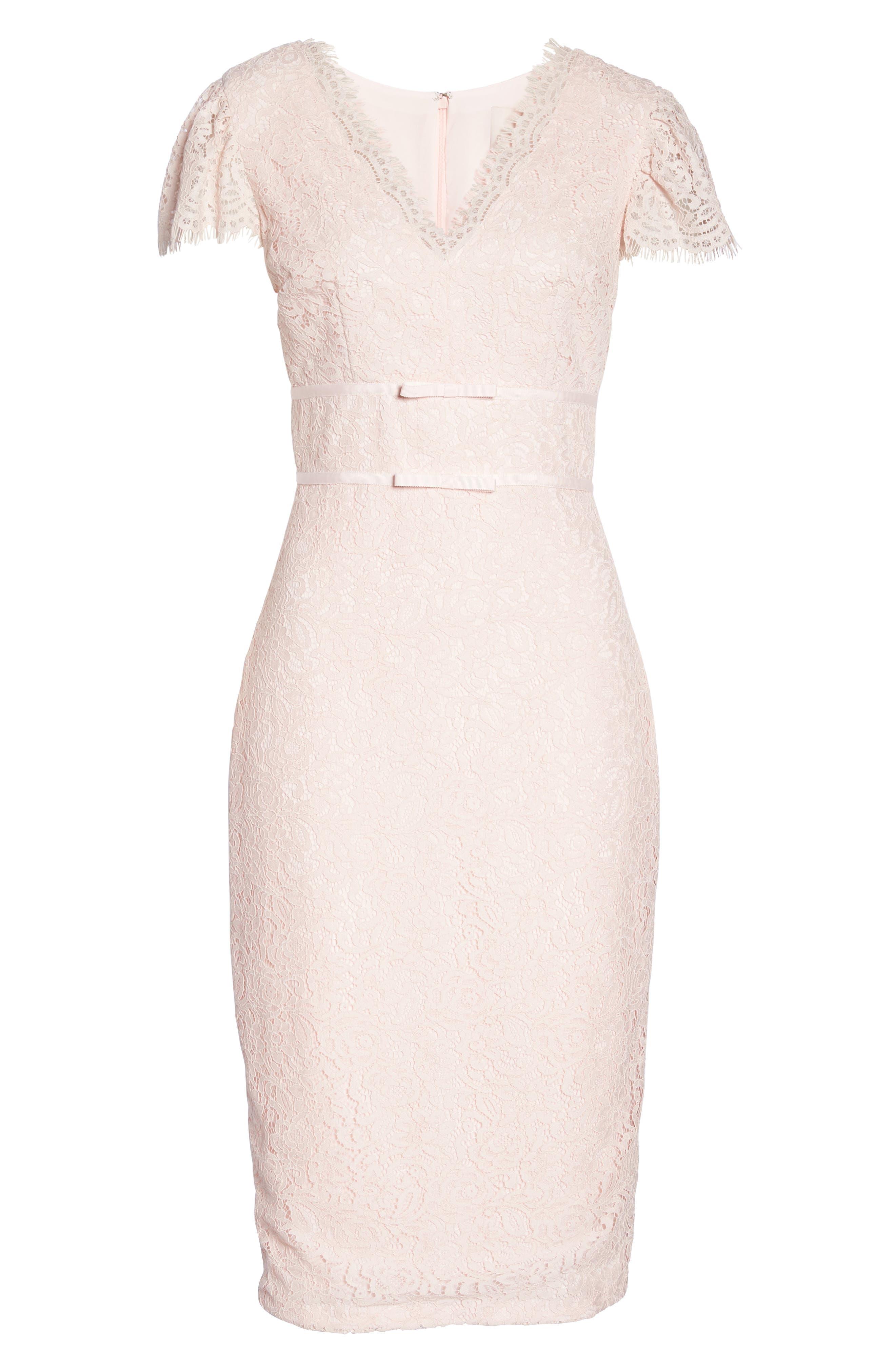 Ginger Rosebud Lace Sheath Dress,                             Alternate thumbnail 8, color,                             Blush