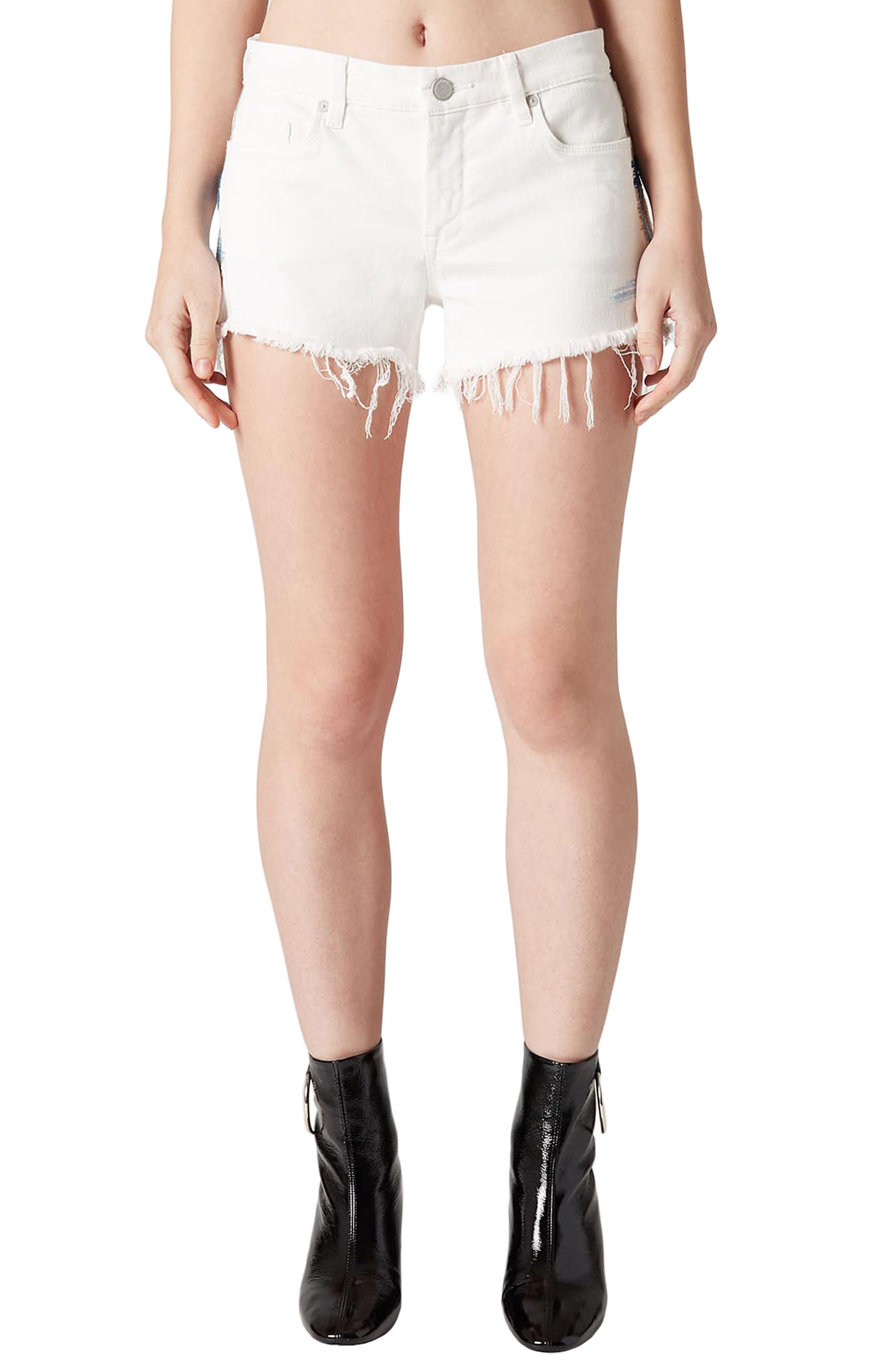 Best Coast Embroidered Denim Shorts,                         Main,                         color, Natural