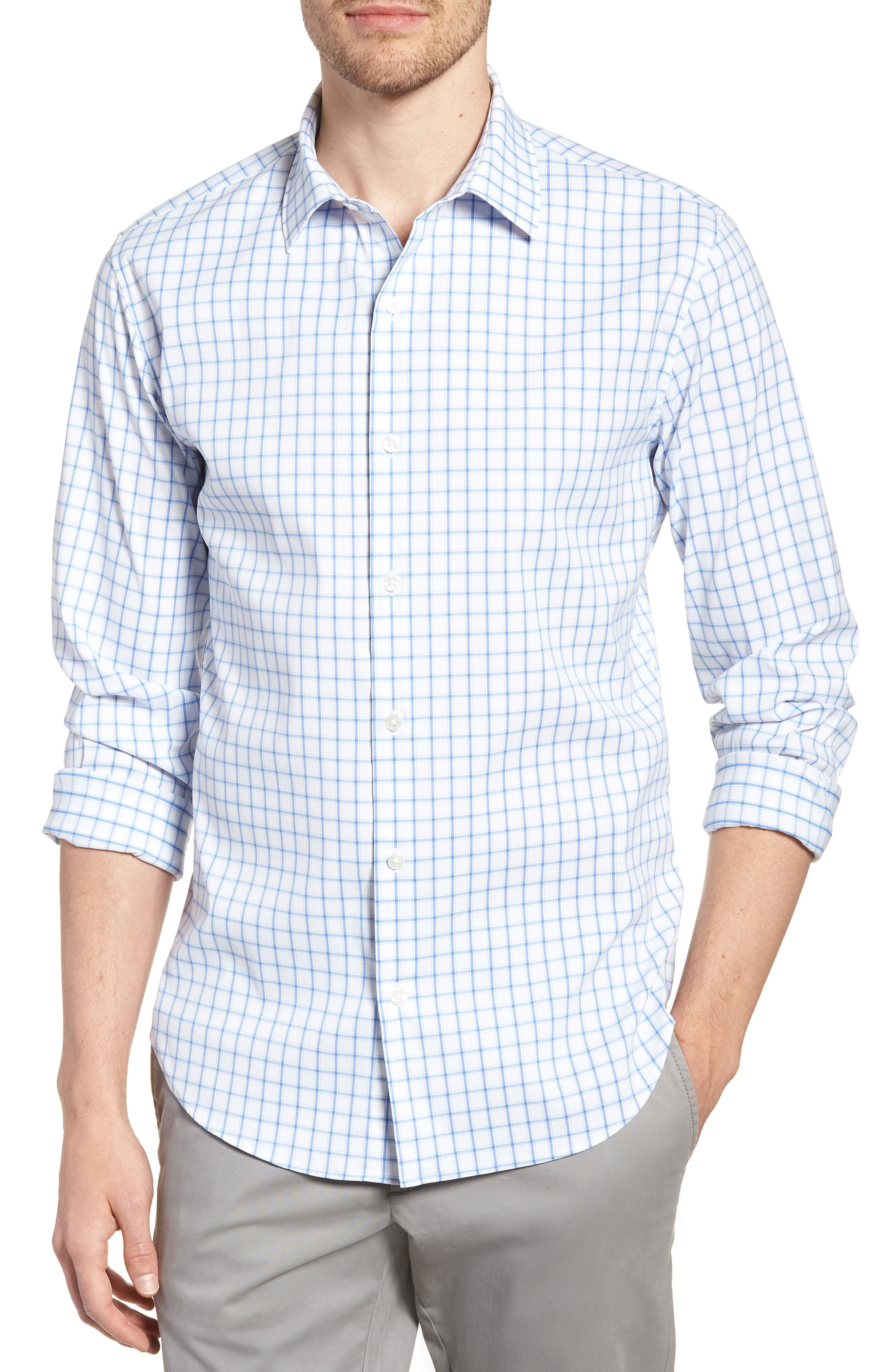 Slim Fit Check Performance Sport Shirt,                             Main thumbnail 1, color,                             Bray Oxford - Peony Coral