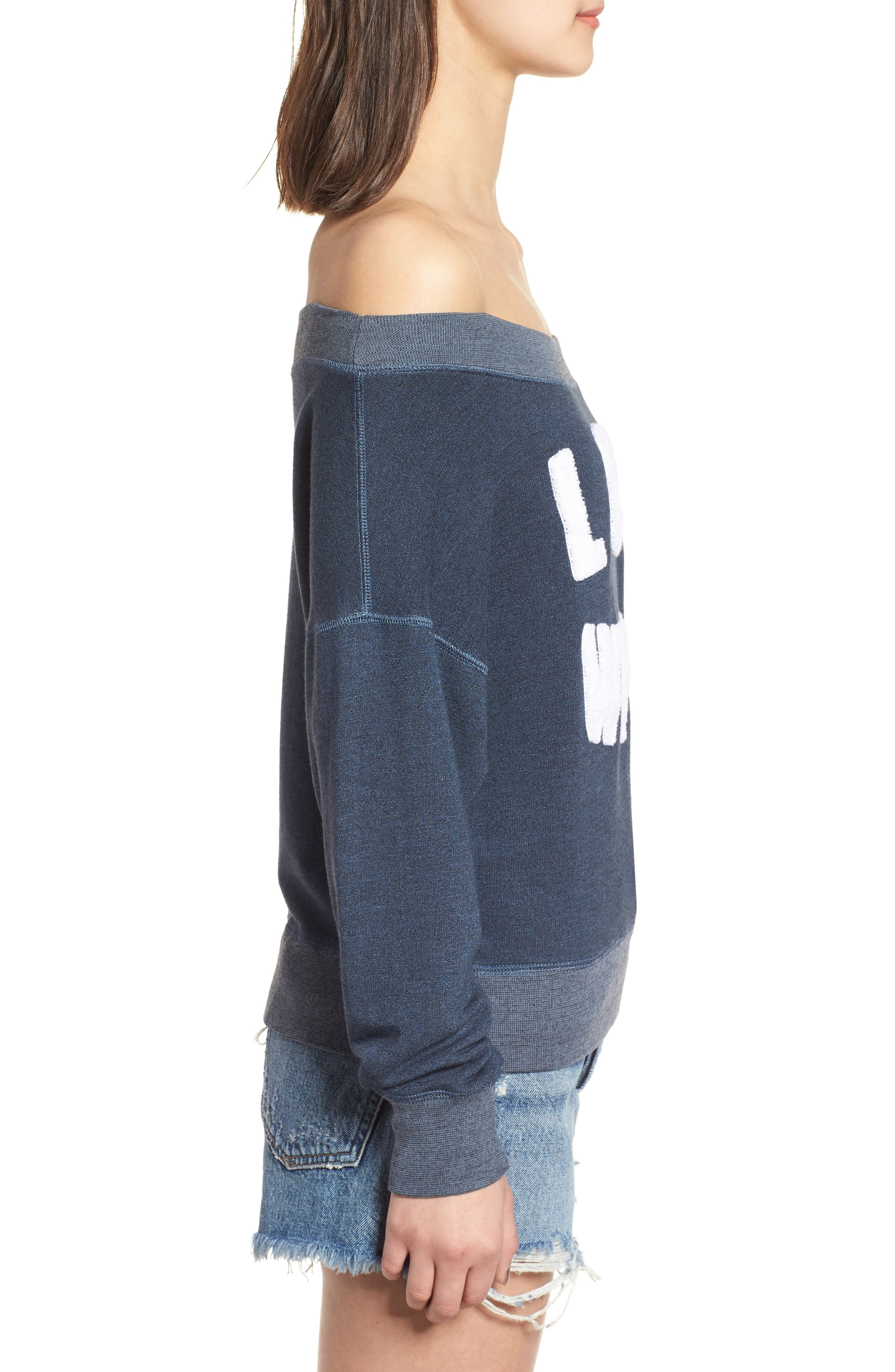 Love Wins Off the Shoulder Pullover,                             Alternate thumbnail 3, color,                             Navy